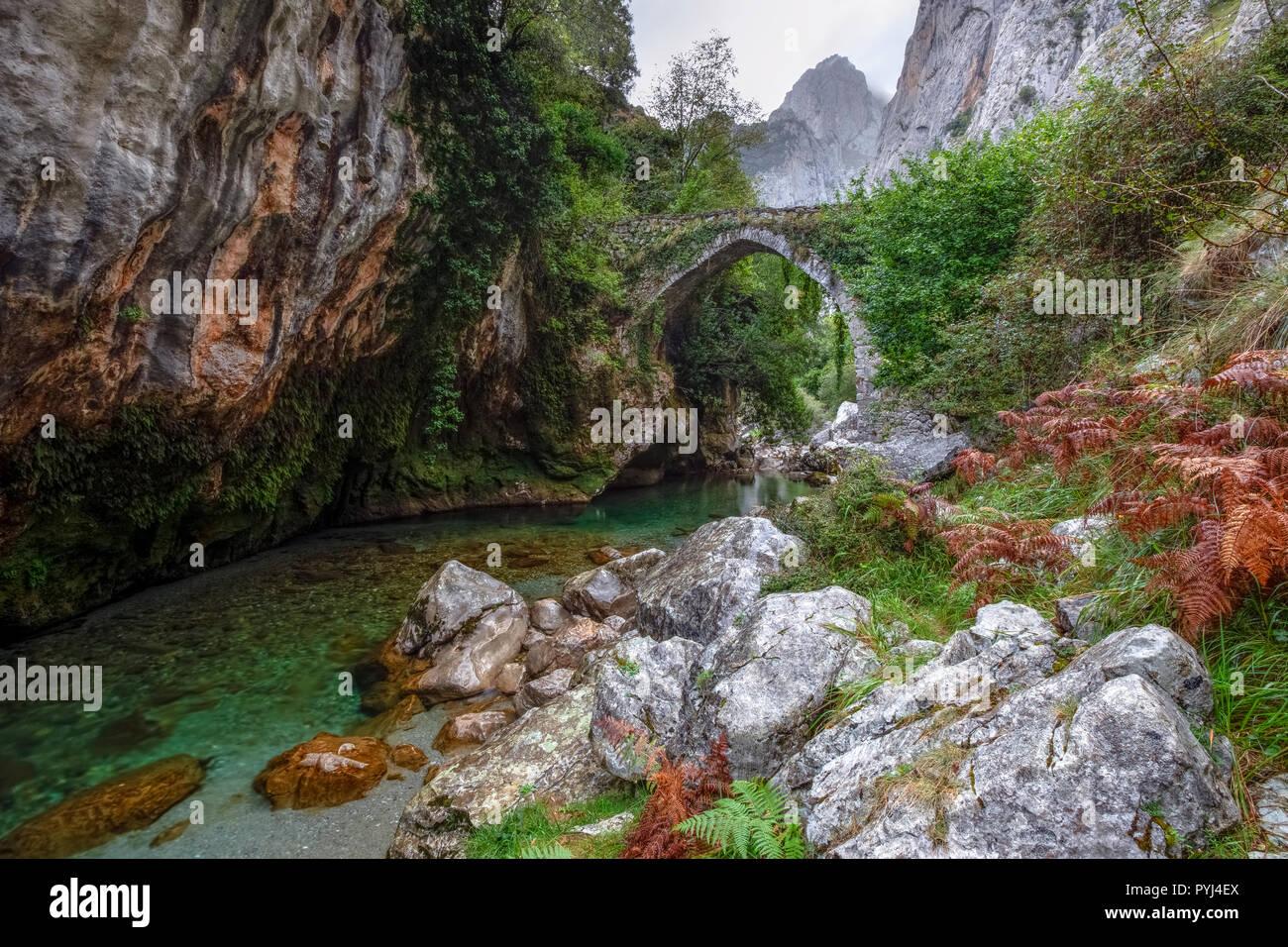 Puente La Jaya, Rio Cares, Picos de Europa, Asturias, Spain, Europe - Stock Image