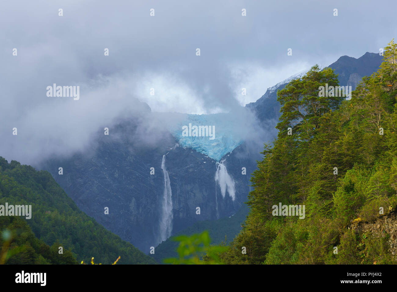 Queulat hanging glacier, located in Chilean Patagonia, Aysen region, southern Chile - Stock Image