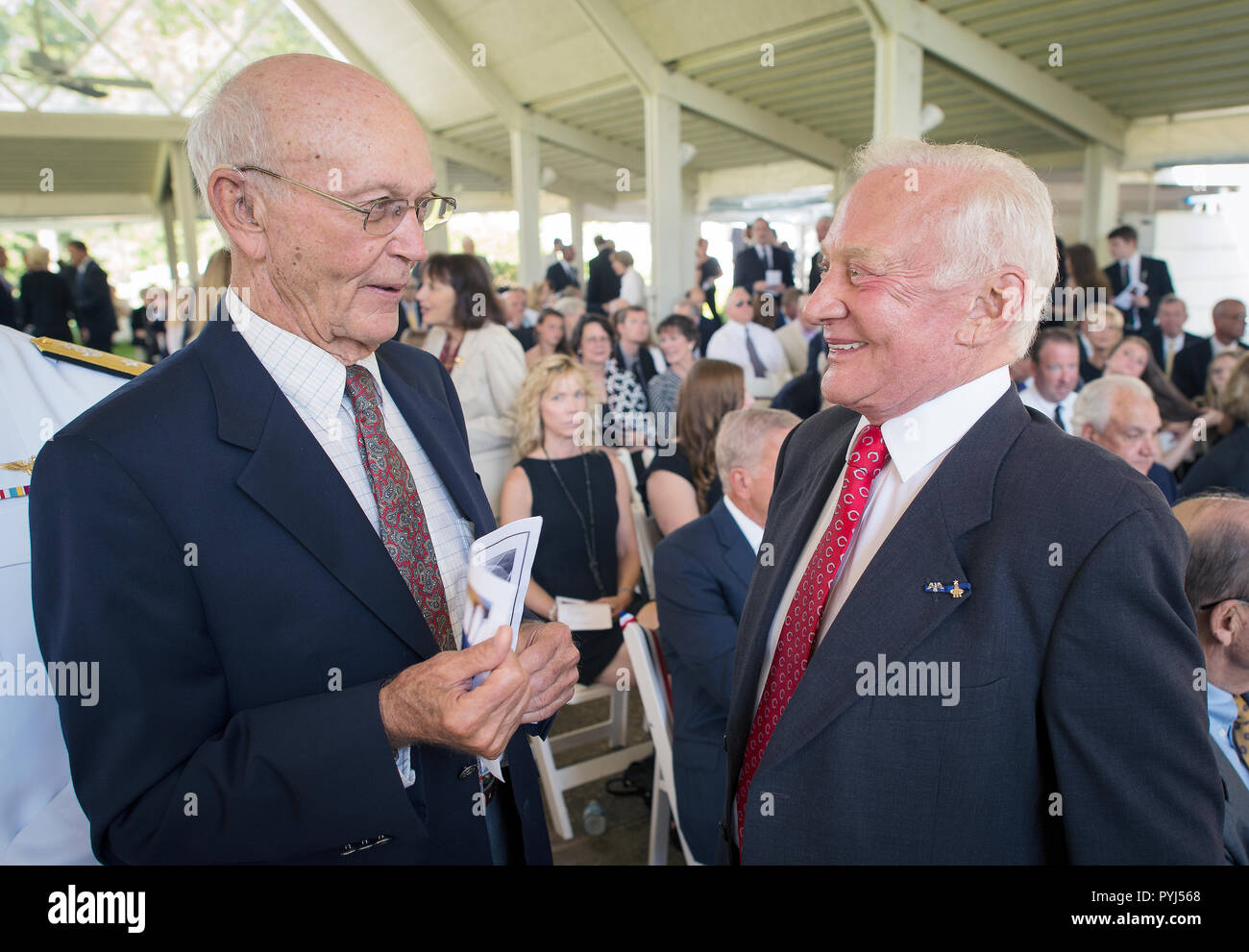 Apollo 11 Astronauts Michael Collins, left, and Buzz Aldrin talk at a private memorial service celebrating the life of Neil Armstrong, Aug. 31, 2012, at the Camargo Club in Cincinnati.  (NASA/Bill Ingalls) - Stock Image