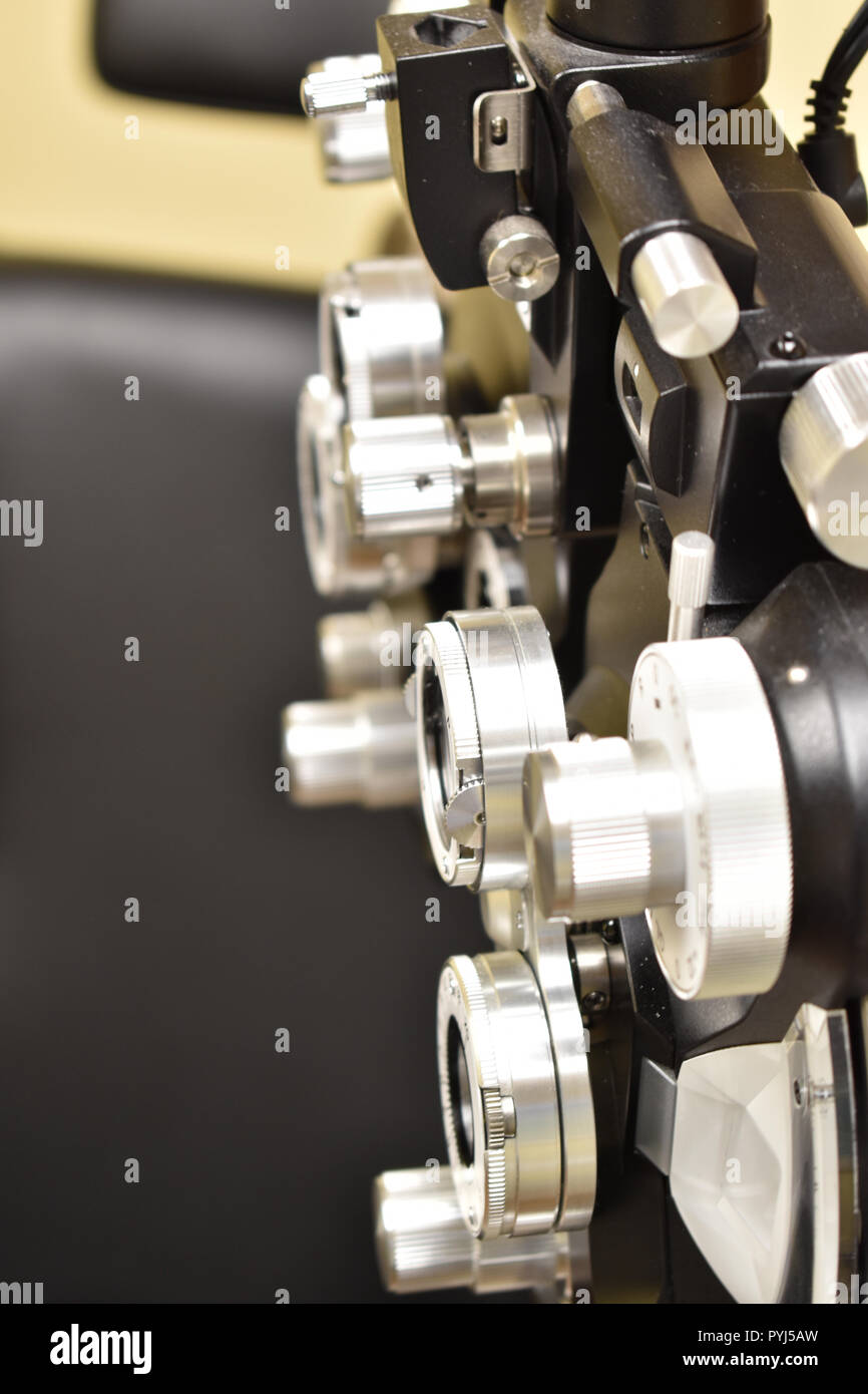 Phoropter, ophthalmology machine close up - Stock Image