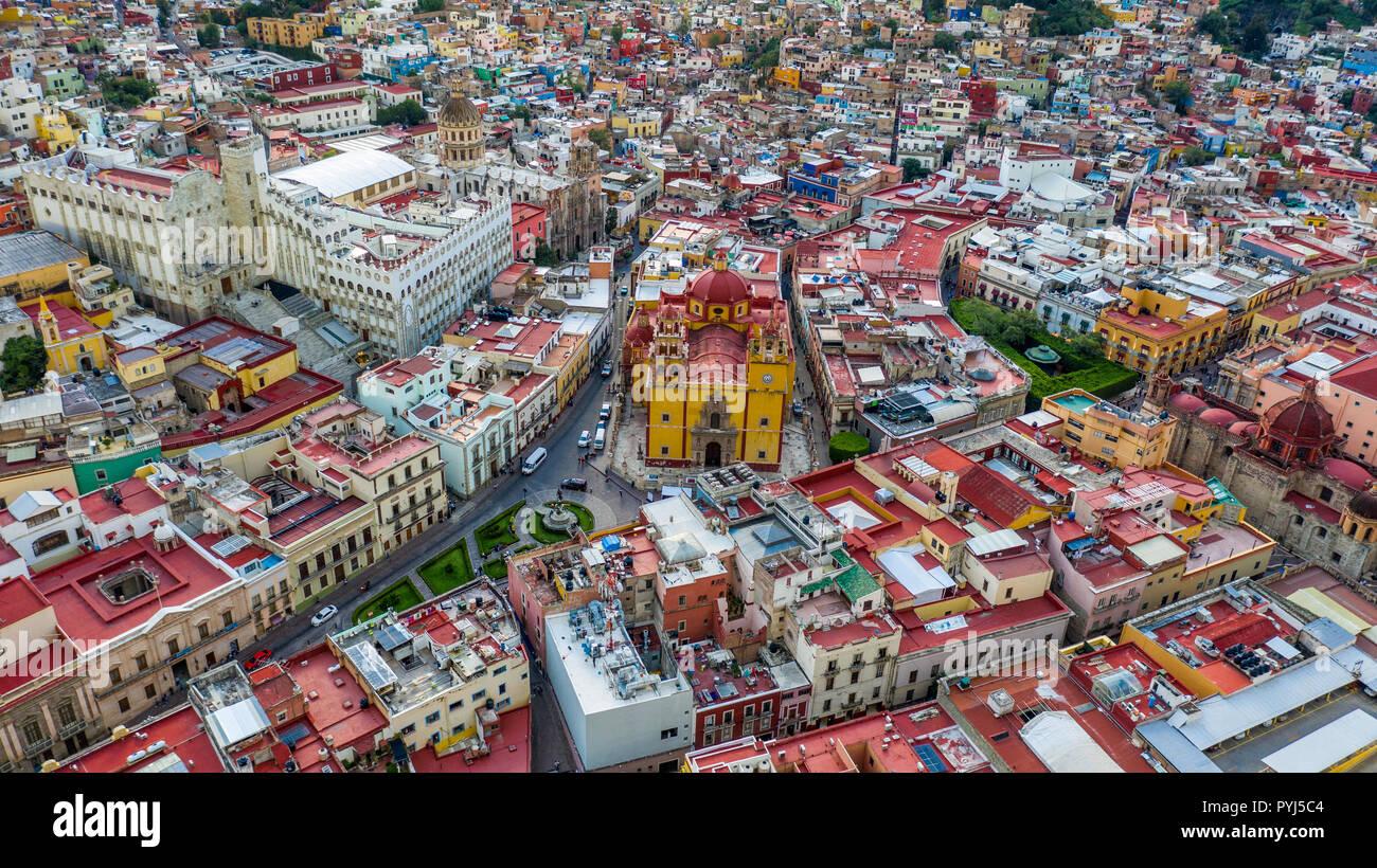 Plaza de la Paz and Basilica Colegiata de Nuestra Senora de Guanajuato, Guanajuato, Mexico - Stock Image