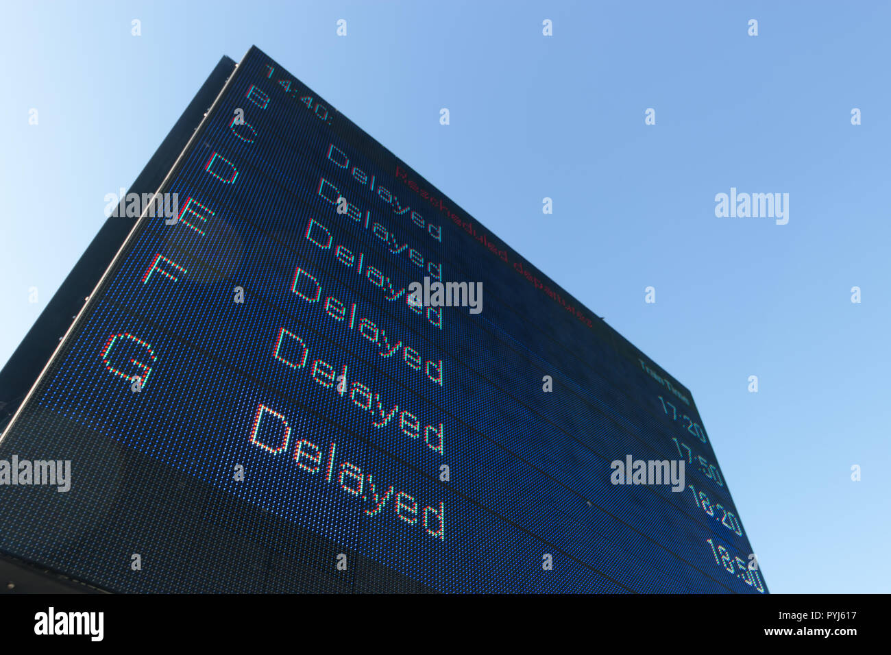 Display board showing extreme delays - Stock Image