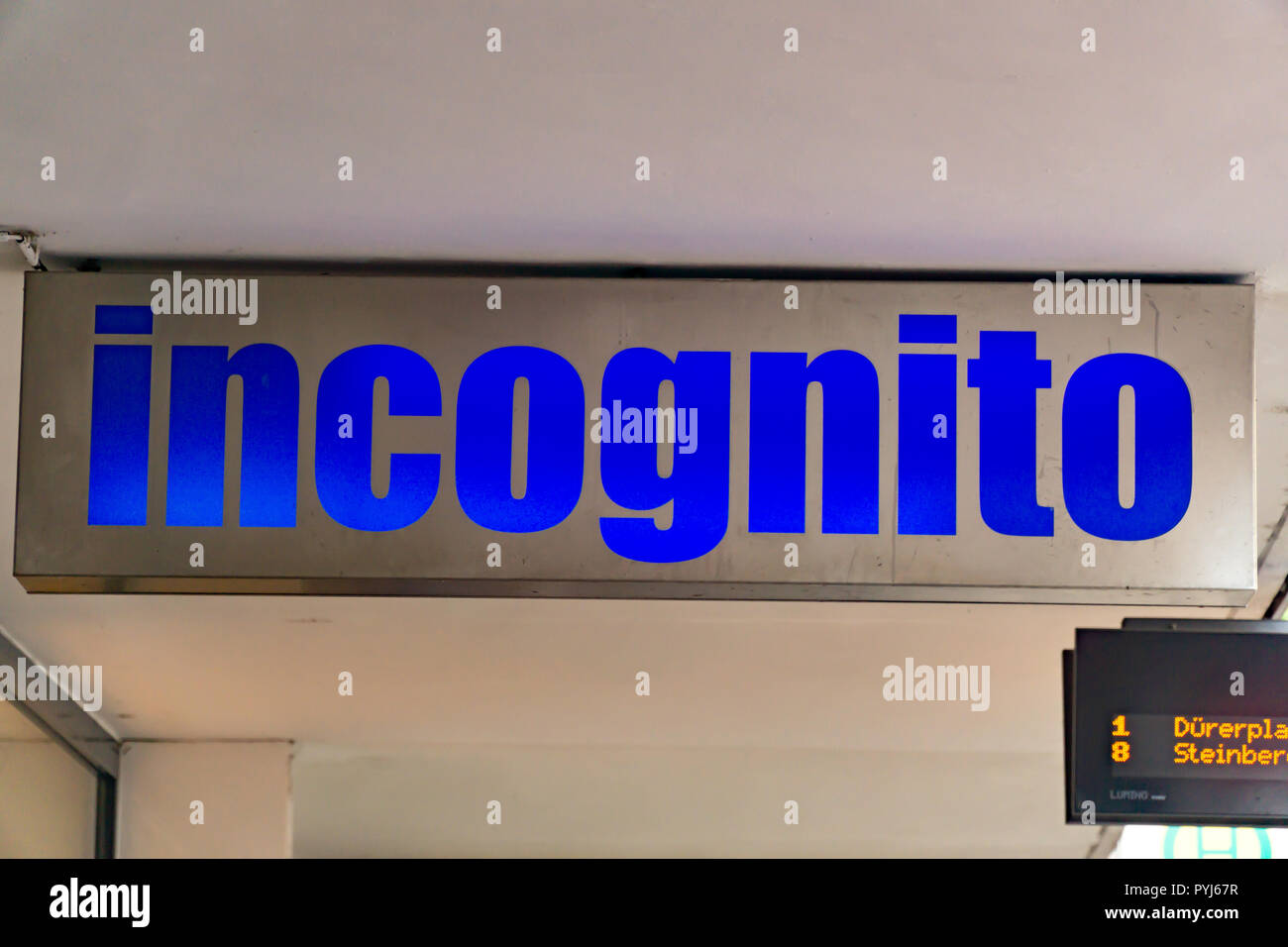 Wiesbaden, Germany - June 03 2018: INCOGNITO logo on a facade. INCOGNITO fashion store in Wiesbaden,Germany. - Stock Image