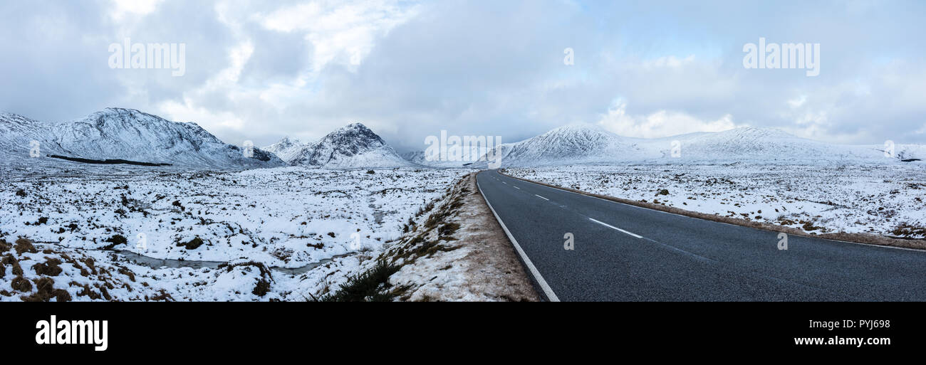 Panoramic shot of Glencoe, Scotland - Stock Image