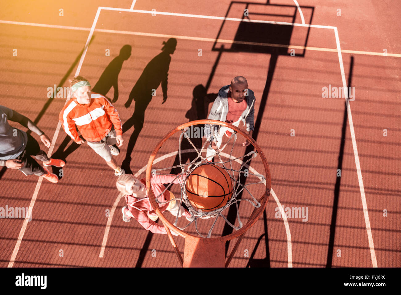 top view of a ball going through the basket stock photo 223520612
