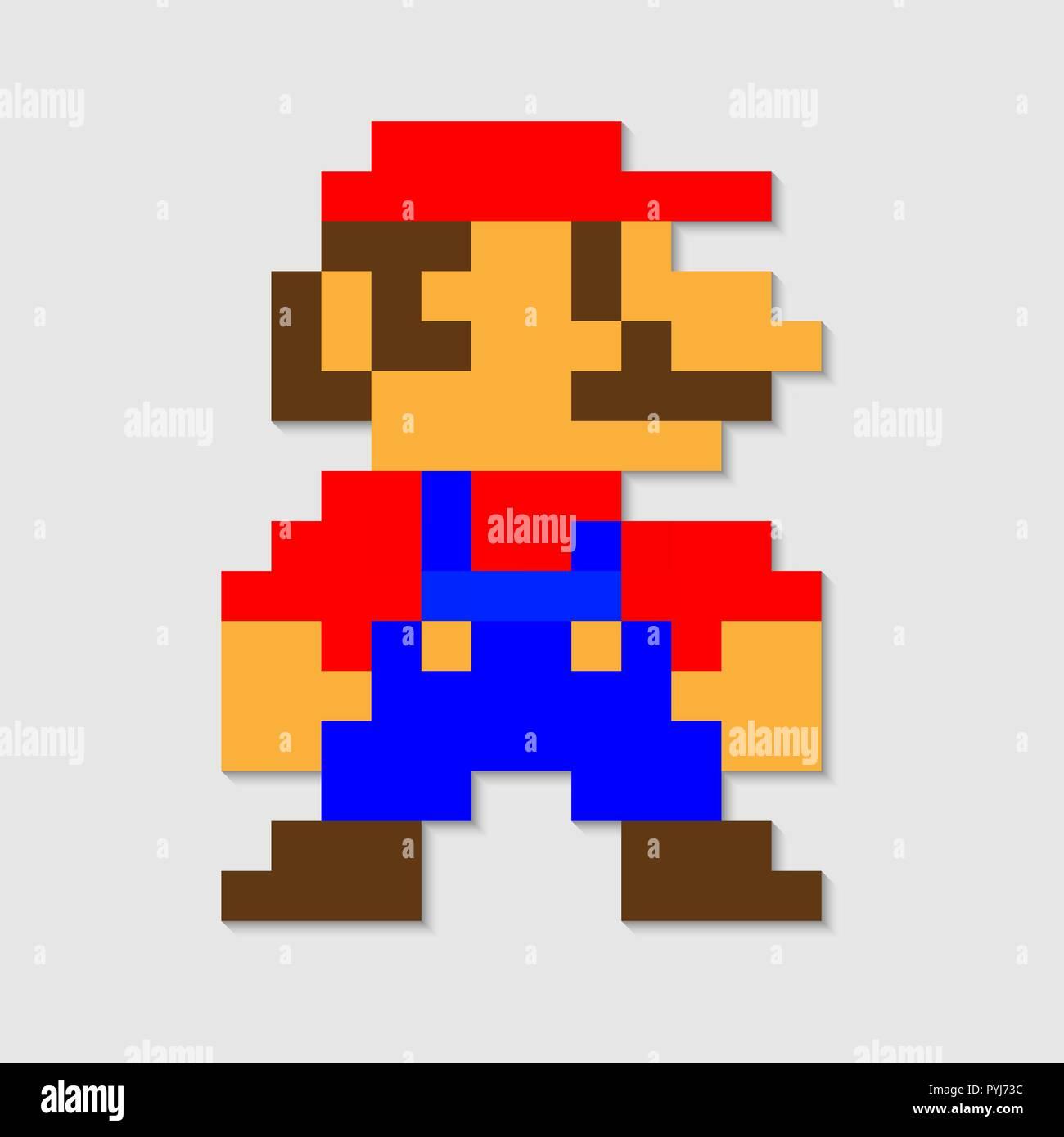 Pixel Mario Vector Icon Illustration Stock Vector Art