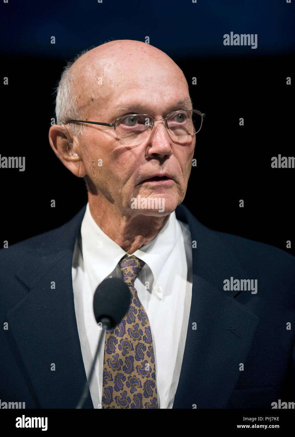 On the eve of the fortieth anniversary of Apollo 11's first human landing on the Moon, Apollo 11 crew member, Michael Collins speaks during a lecture in honor of Apollo 11 at the National Air and Space Museum in Washington, Sunday, July 19, 2009 (NASA/Bill Ingalls) - Stock Image