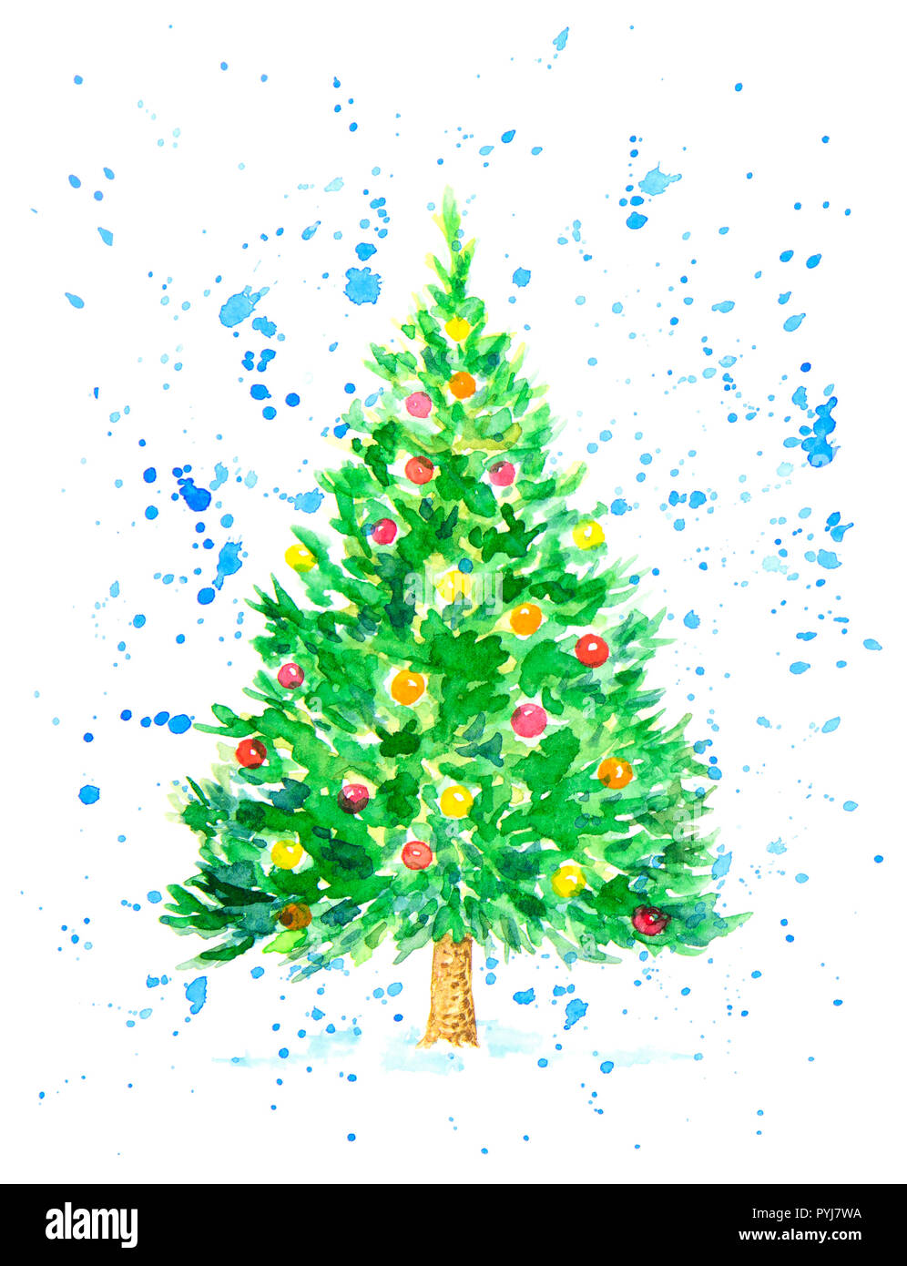 Christmas Fir Tree with Balls Covered by Snowflakes as Postcard. Watercolor Hand Drawn and Painted. Isolated on White Background Stock Photo