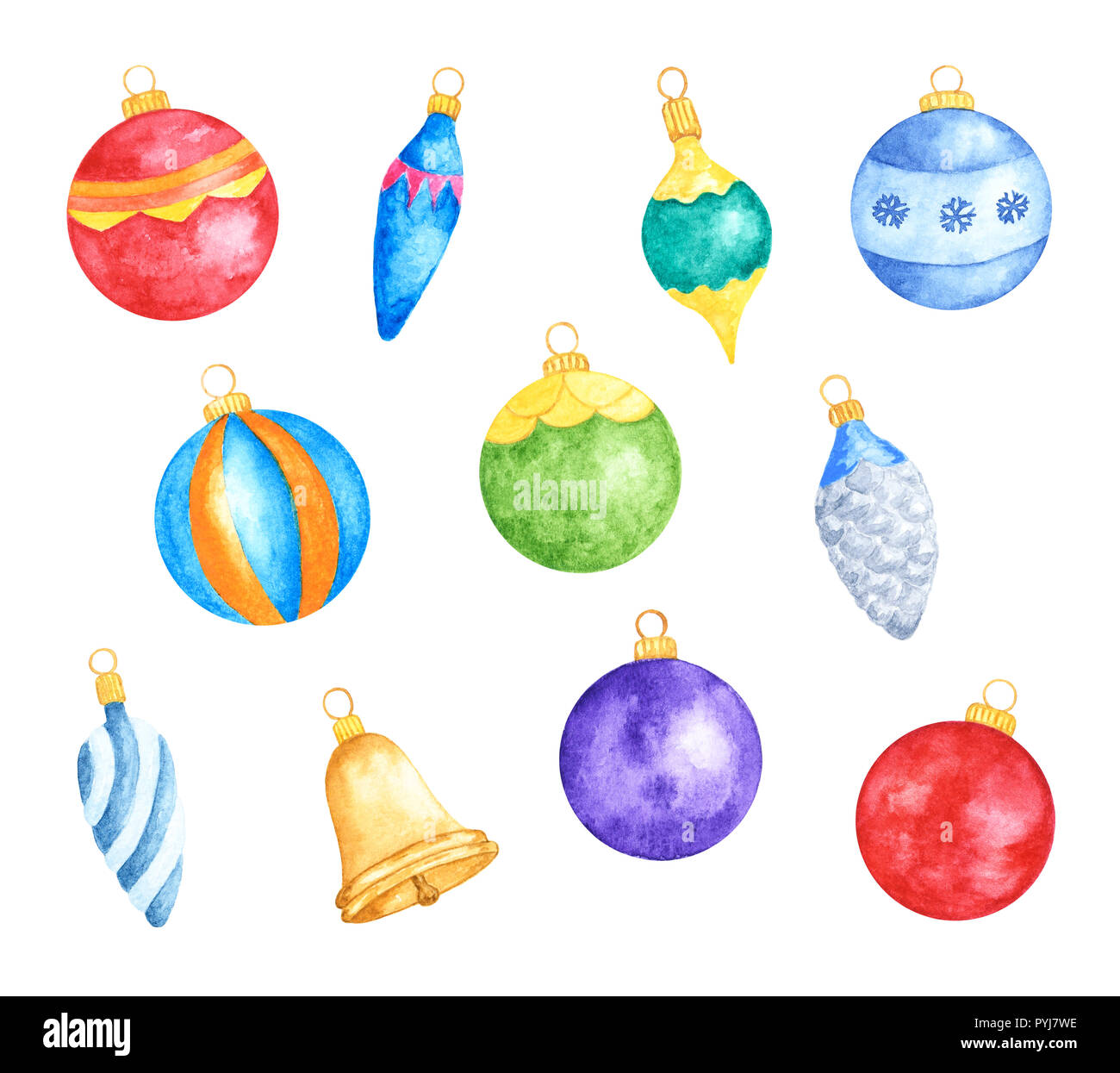 Set Of Various Colorful Christmas Tree Decorations Watercolor Hand Drawn And Painted Isolated On White Background Stock Photo Alamy