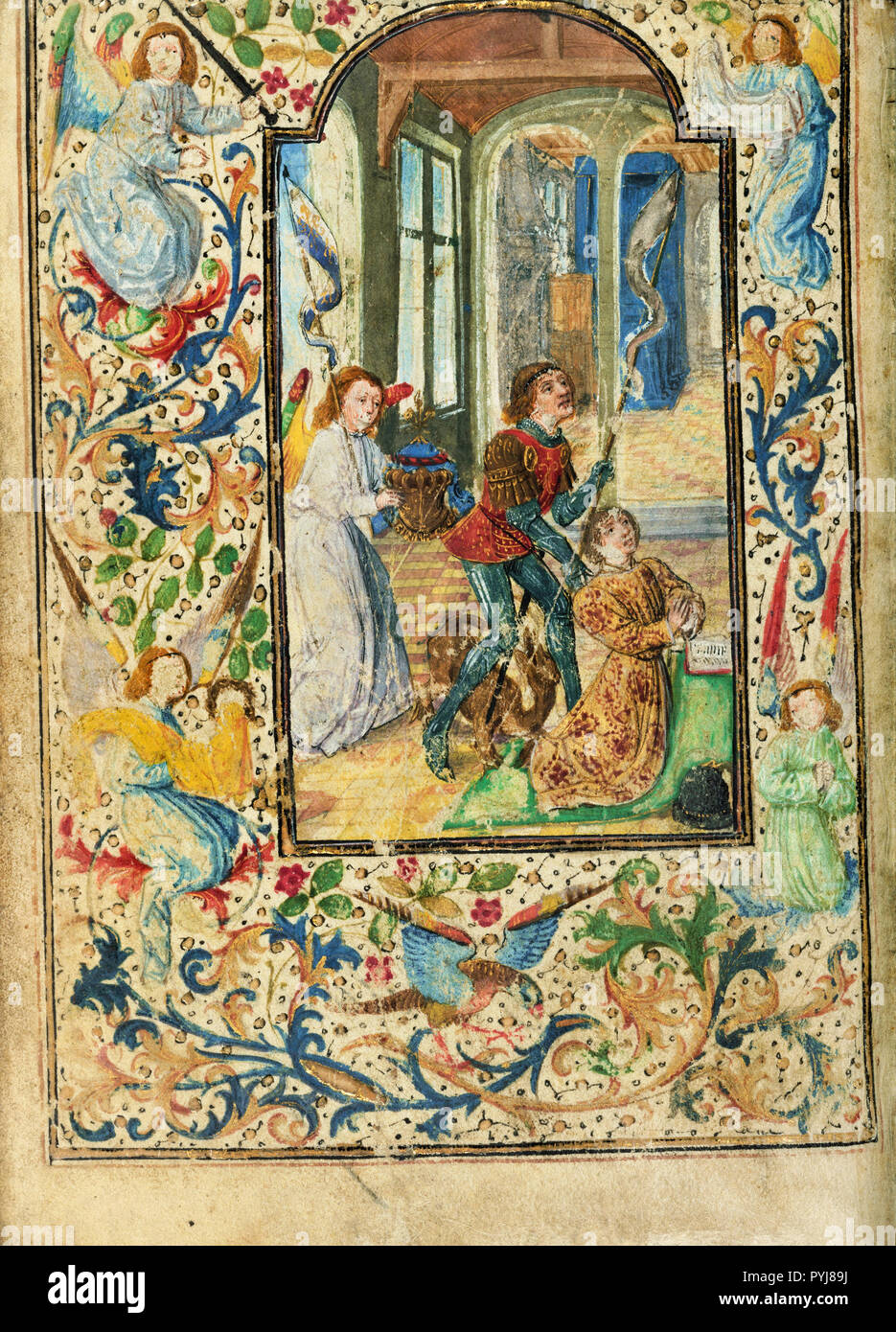Lieven van Lathem, Charles the Bold Presented by Saint George, Circa 1471 Tempera colors, gold leaf, gold, silver, ink on parchment, The J. Paul Getty Museum, Los Angeles, USA. Stock Photo