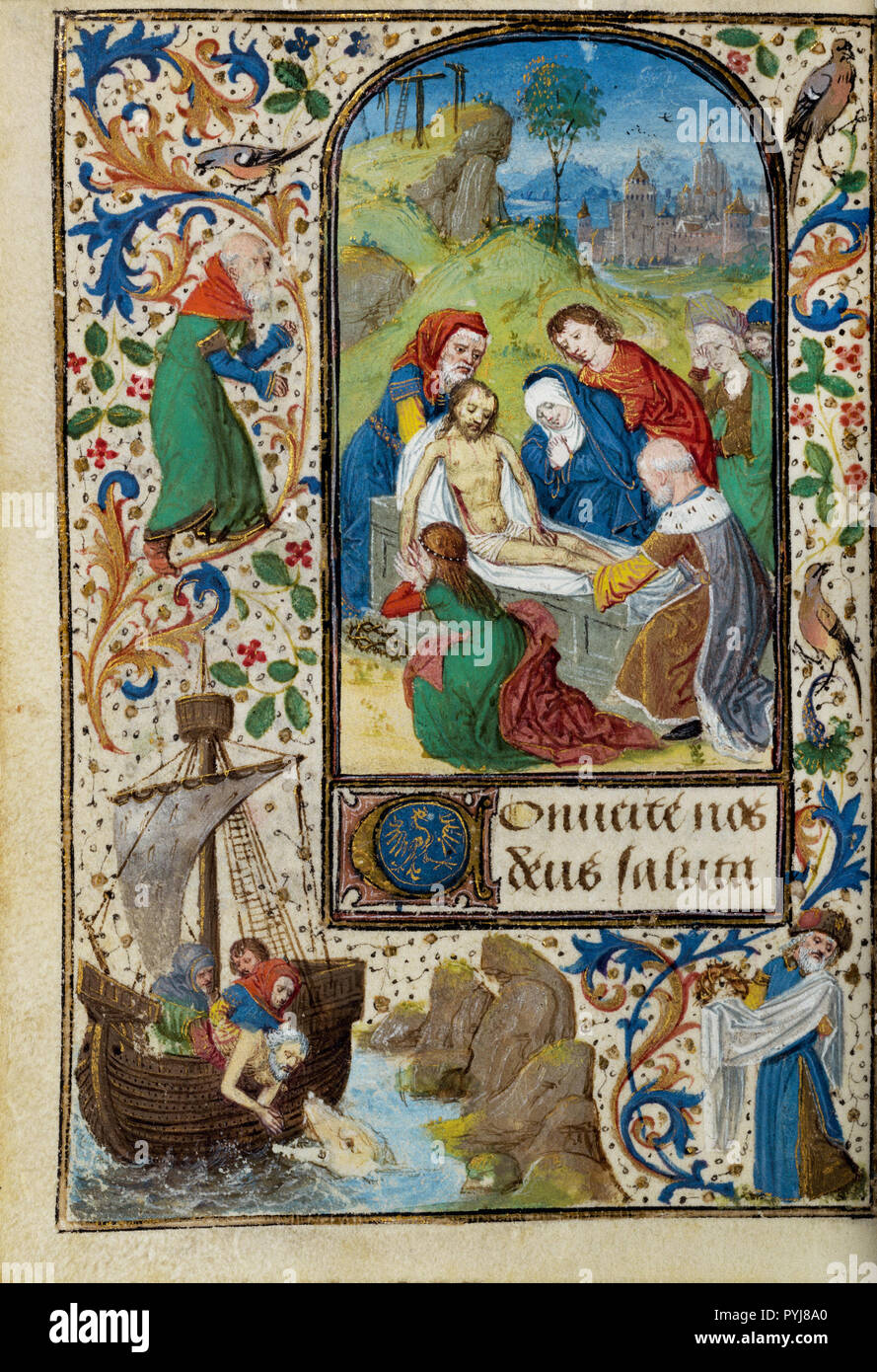 Lieven van Lathem, The Entombment, Circa 1471  Tempera colors, gold leaf, gold, silver, ink on parchment, The J. Paul Getty Museum, Los Angeles, USA. - Stock Image