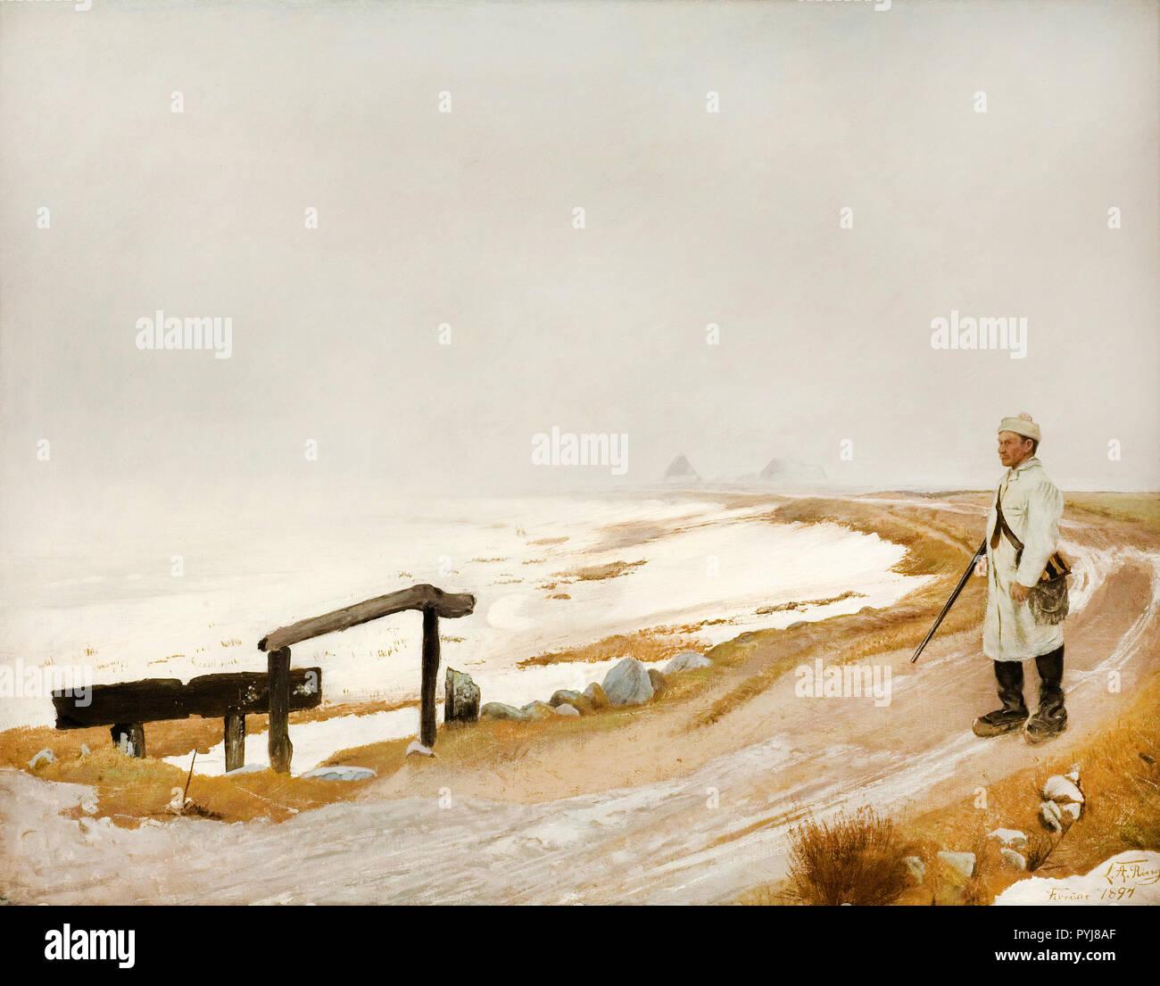 Laurits Andersen Ring, Foggy Winter's Day, Karrebaeksminde 1897 Oil on canvas, The Hirschsprung Collection, Copenhagen, Denmark. - Stock Image