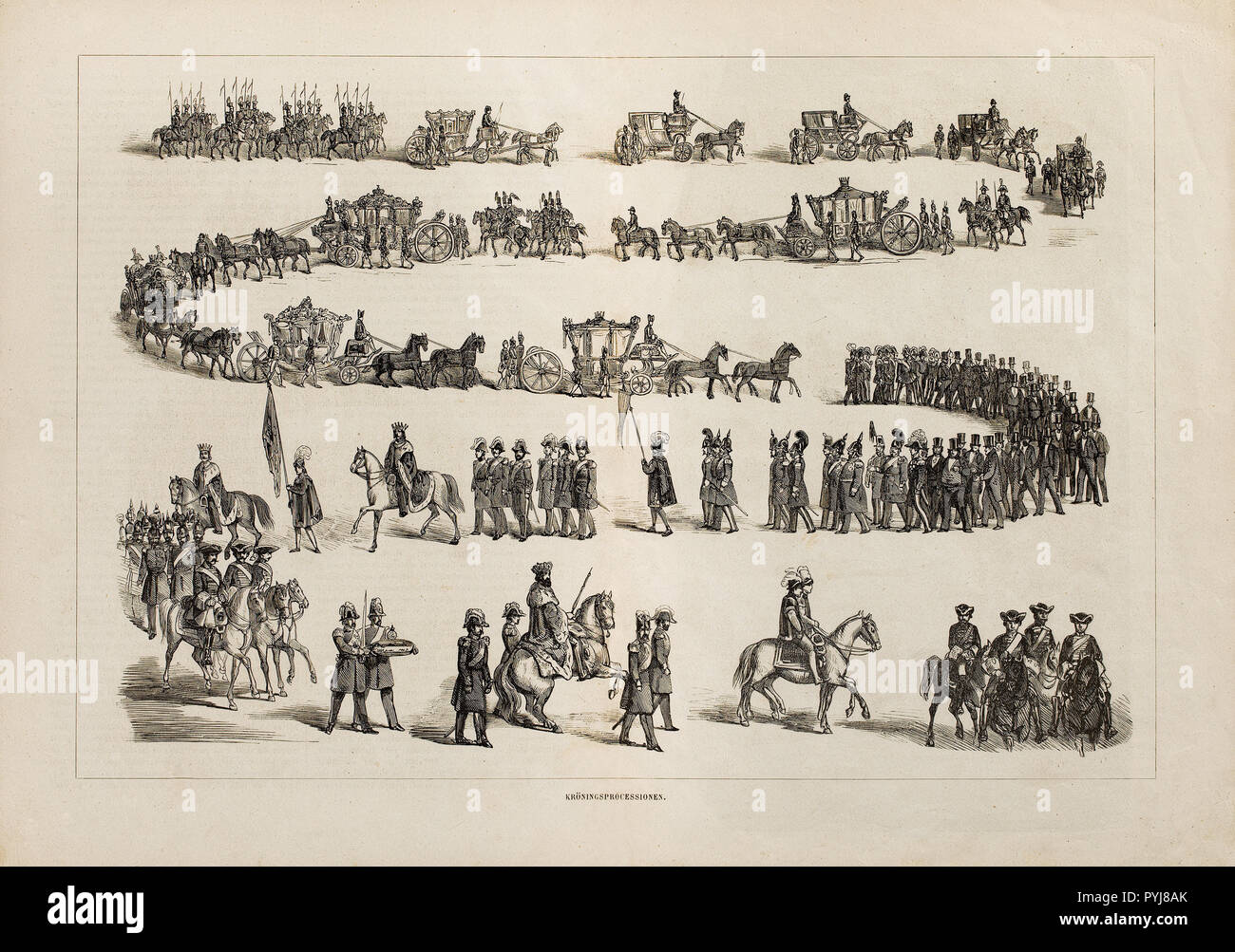Unknown Artist, The 'Kroningprocessionen' from Illustrated Memorial Magazines from the Crowning Anniversaries in 1860, Available in the Livrust Chamber archive, entitled 'Ceremony. Kroning 1800-1850' in cupboard section 17. - Stock Image