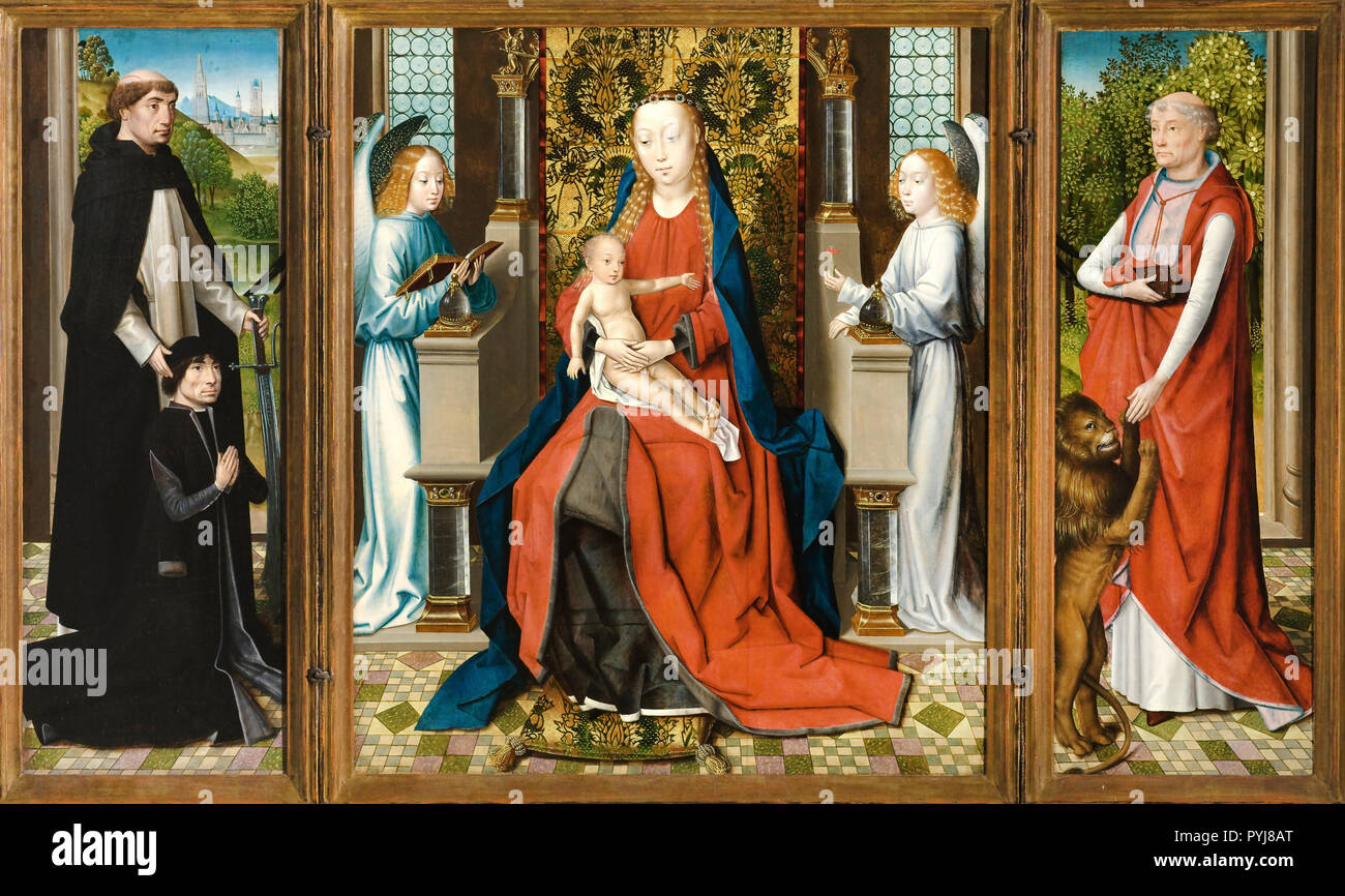 Master of The Legend of St. Lucy, Triptych of Madonna and Child with Angels; Donor and His Patron Saint Peter Martyr; and Saint Jerome, Circa 1475-1483 Oil on panel, Los Angeles County Museum of Art, Los Angeles, USA. - Stock Image