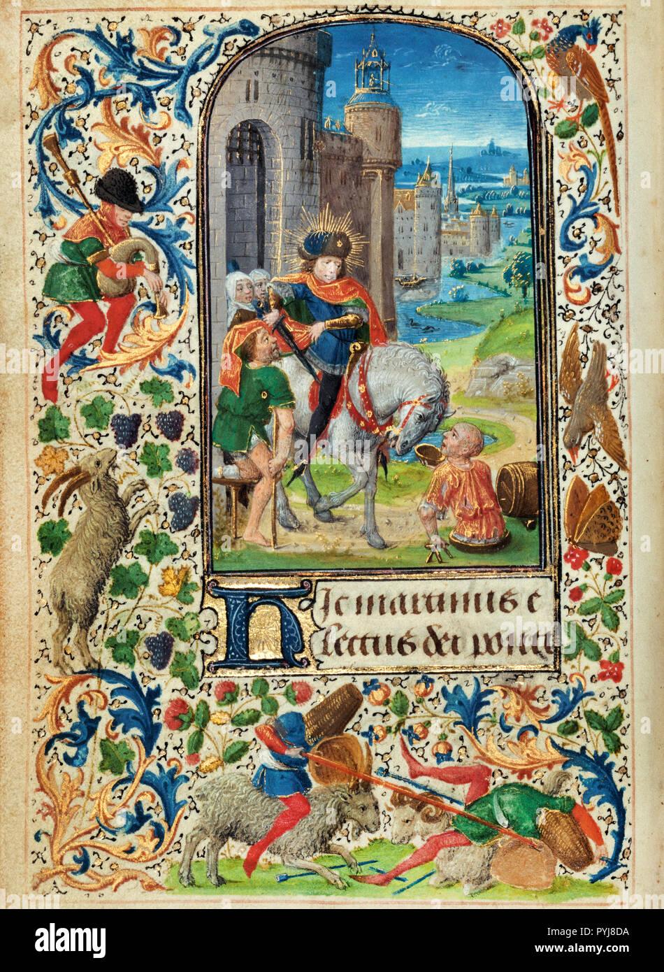 Lieven van Lathem, Saint Martin Dividing his Cloak 1469 Tempera colors, gold leaf, gold, silver, ink on parchment, The J. Paul Getty Museum, Los Angeles, USA. - Stock Image