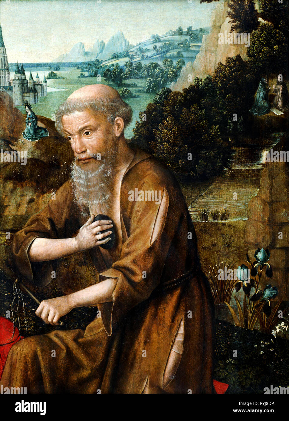Master of The Legend of St. Lucy, St. Jerome, 15th century, Oil on panel, National Museum of Western Art, Tokyo, Japan. - Stock Image