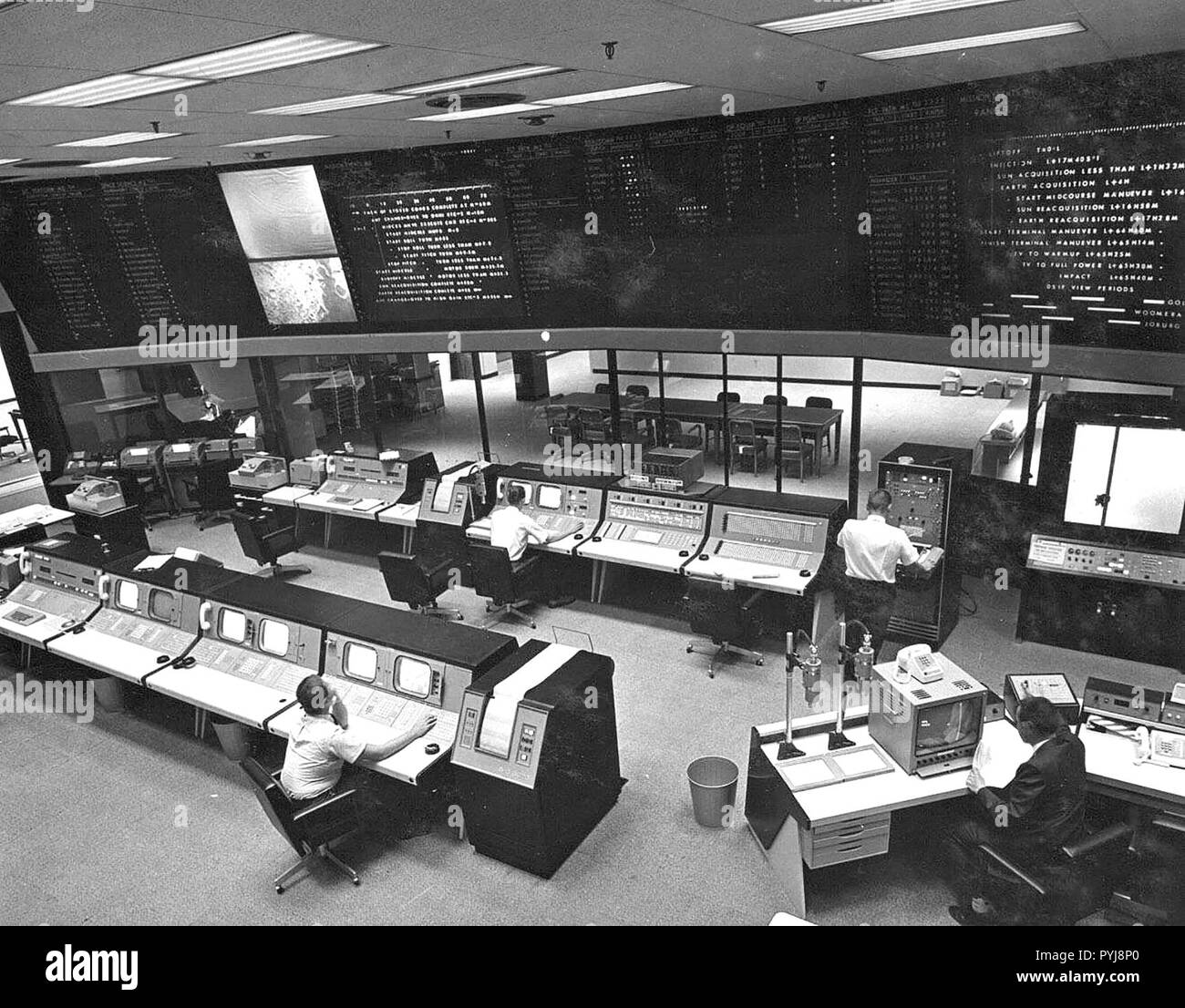 This image was taken in May 1964, when the building this nerve center is in, the Space Flight Operations Facility (Building 230), was dedicated at JPL. - Stock Image