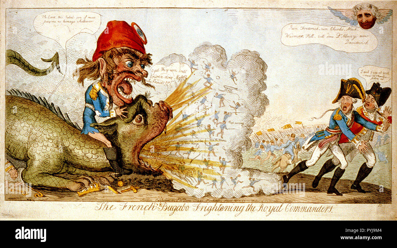 Bonaparte, a grotesque figure with a large head, bestrides the neck of a scaly monster which breathes out soldiers (horse and foot), guns, and demons in a cloud of smoke. - Stock Image