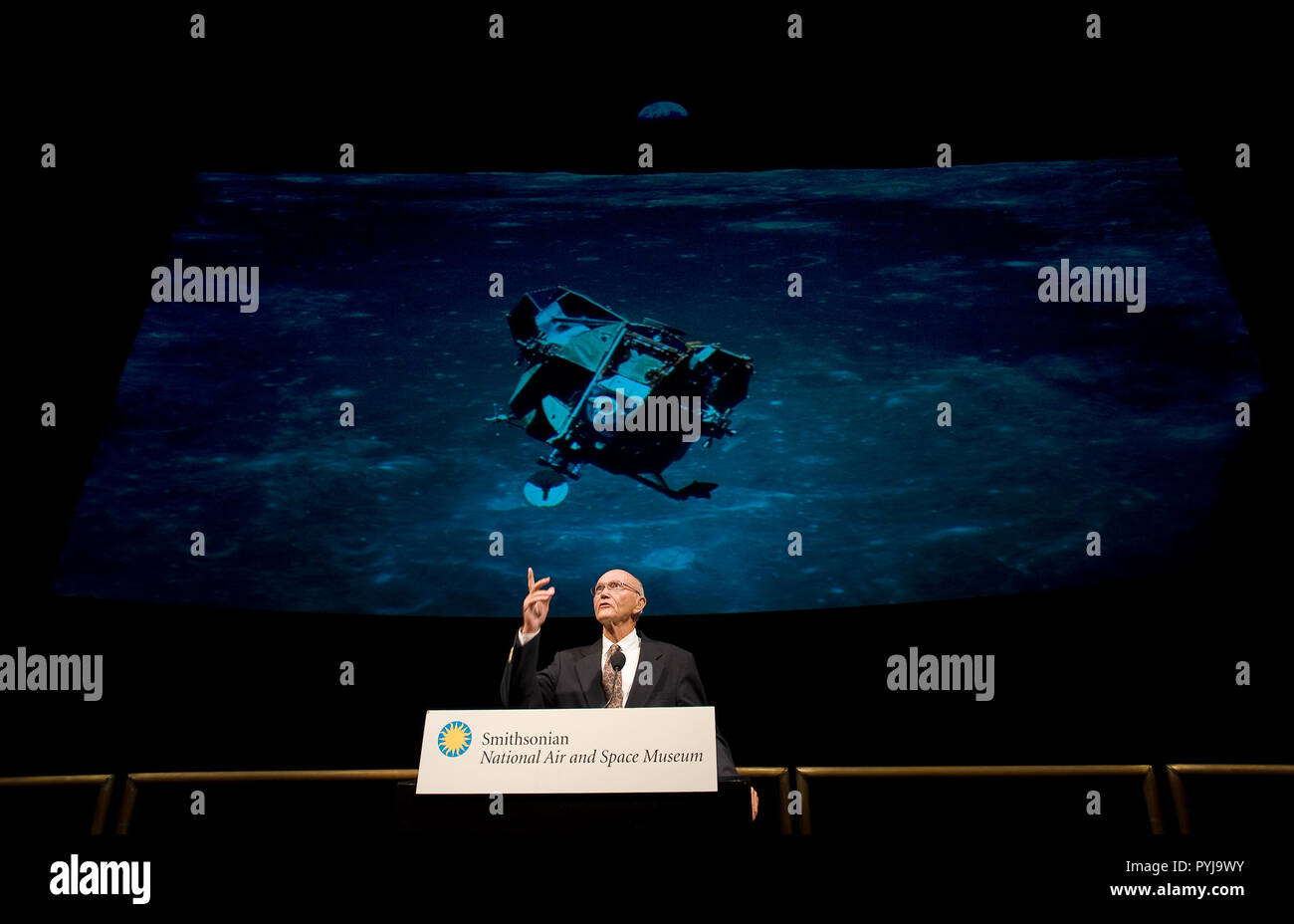 On the eve of the fortieth anniversary of Apollo 11's first human landing on the Moon, Apollo 11 crew member, Michael Collins speaks during a lecture in honor of Apollo 11 at the National Air and Space Museum in Washington, Sunday, July 19, 2009.  (NASA/Bill Ingalls) - Stock Image