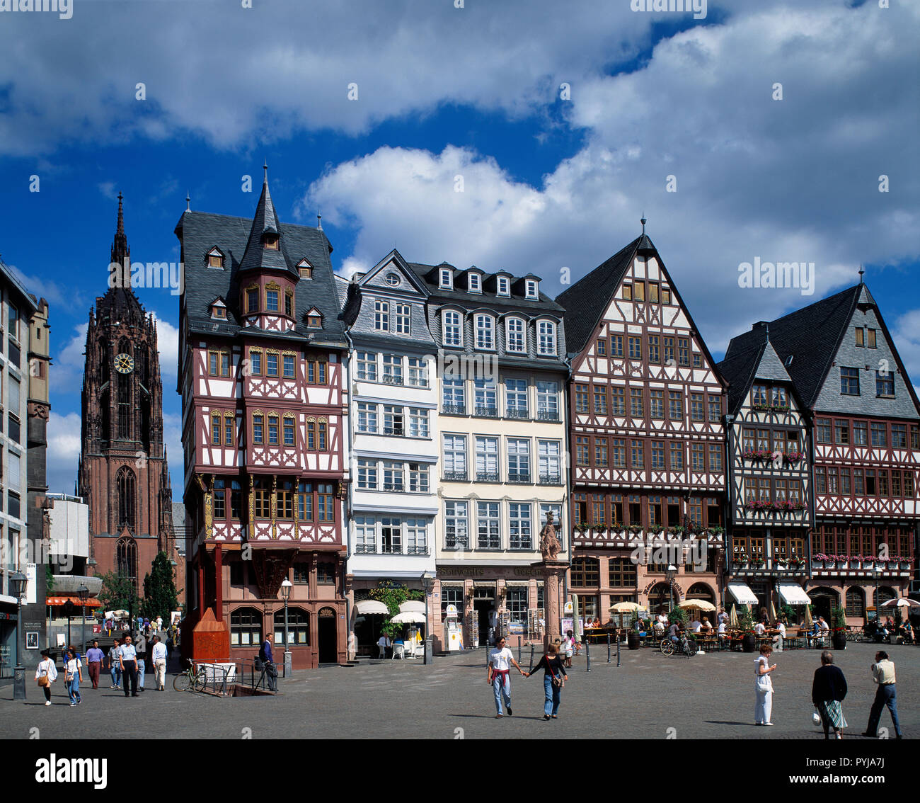 Germany. Frankfurt. Old quarter square with view of Romer cathedral. - Stock Image