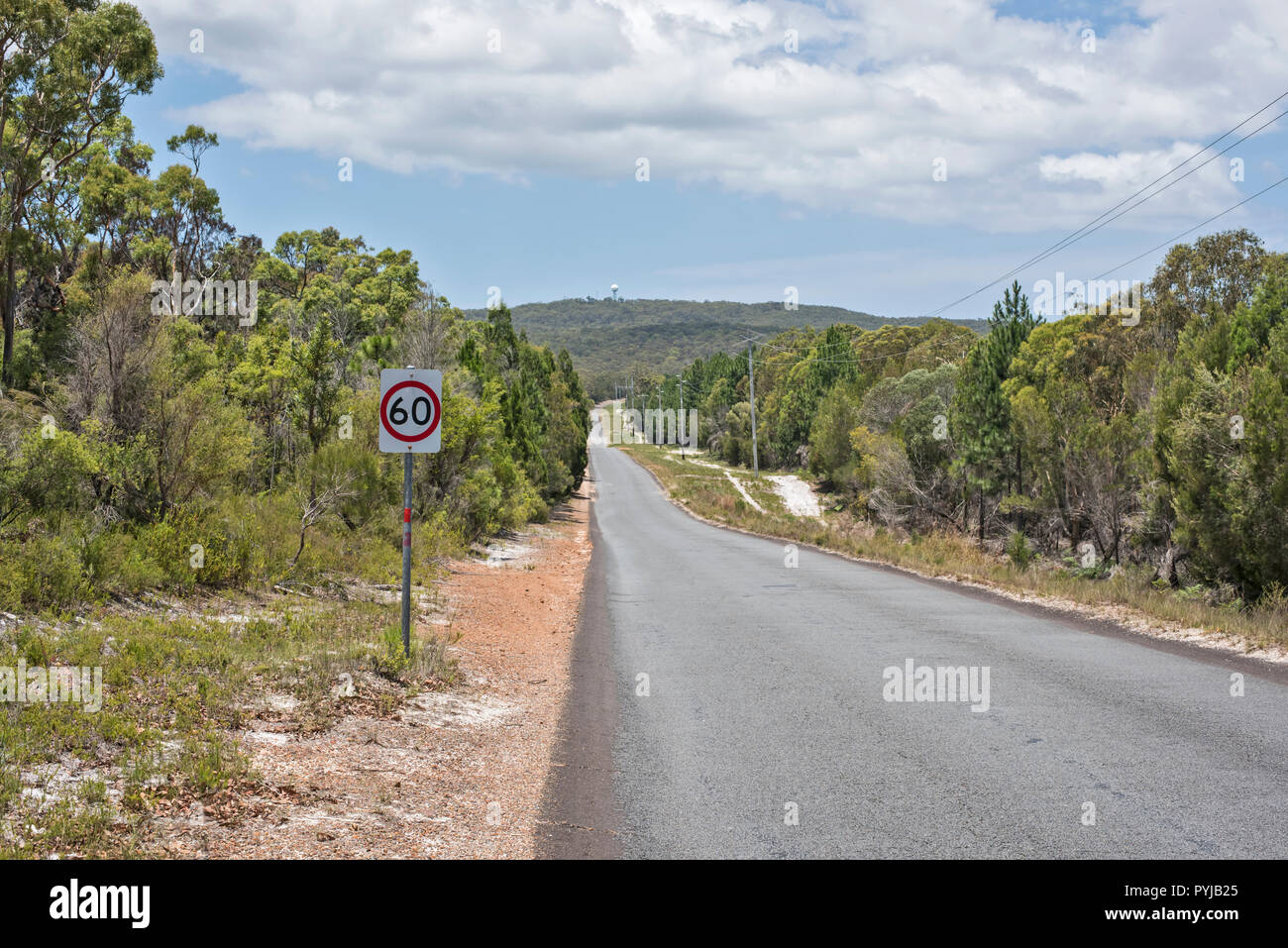 Bulwark Blue Lagoon Road and 60 kilometres speed sign, Moreton Island, Queensland, Australia. - Stock Image