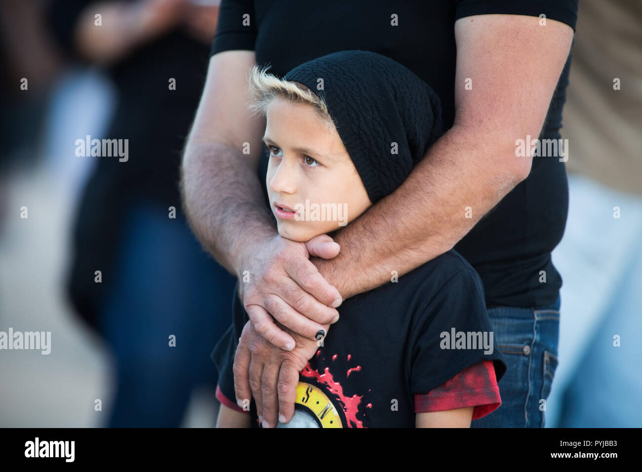 Guns N' Roses fan at the Not In This Lifetime Tour at Passeio Marítimo de Algés, in Lisbon, Portugal. - Stock Image