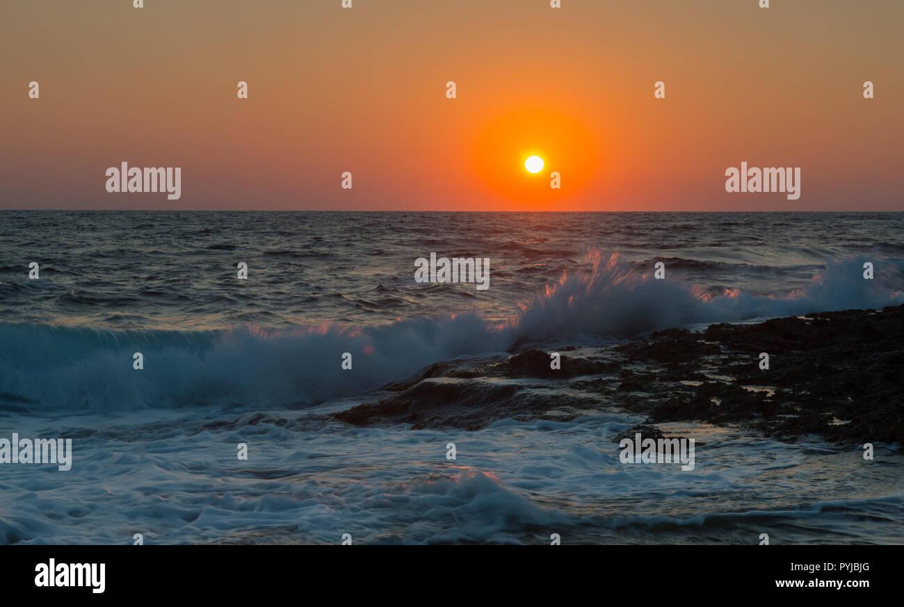 sunset paphos cyprus - Stock Image