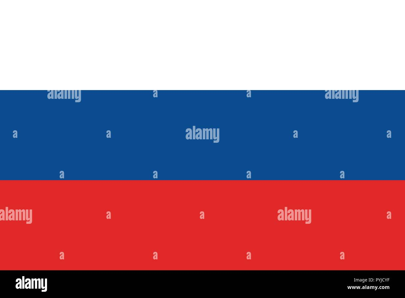 Vector image for Russia flag. Based on the official and exact Russian flag dimensions (3:2) & colors (White, 293C, and 485C) Stock Vector
