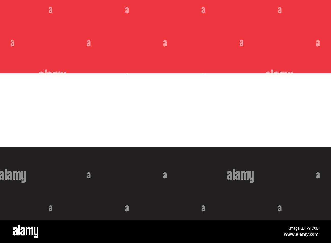 Vector image for Yemen flag. Based on the official and exact Yemeni flag dimensions (3:2) & colors (032C, White and Black) - Stock Vector