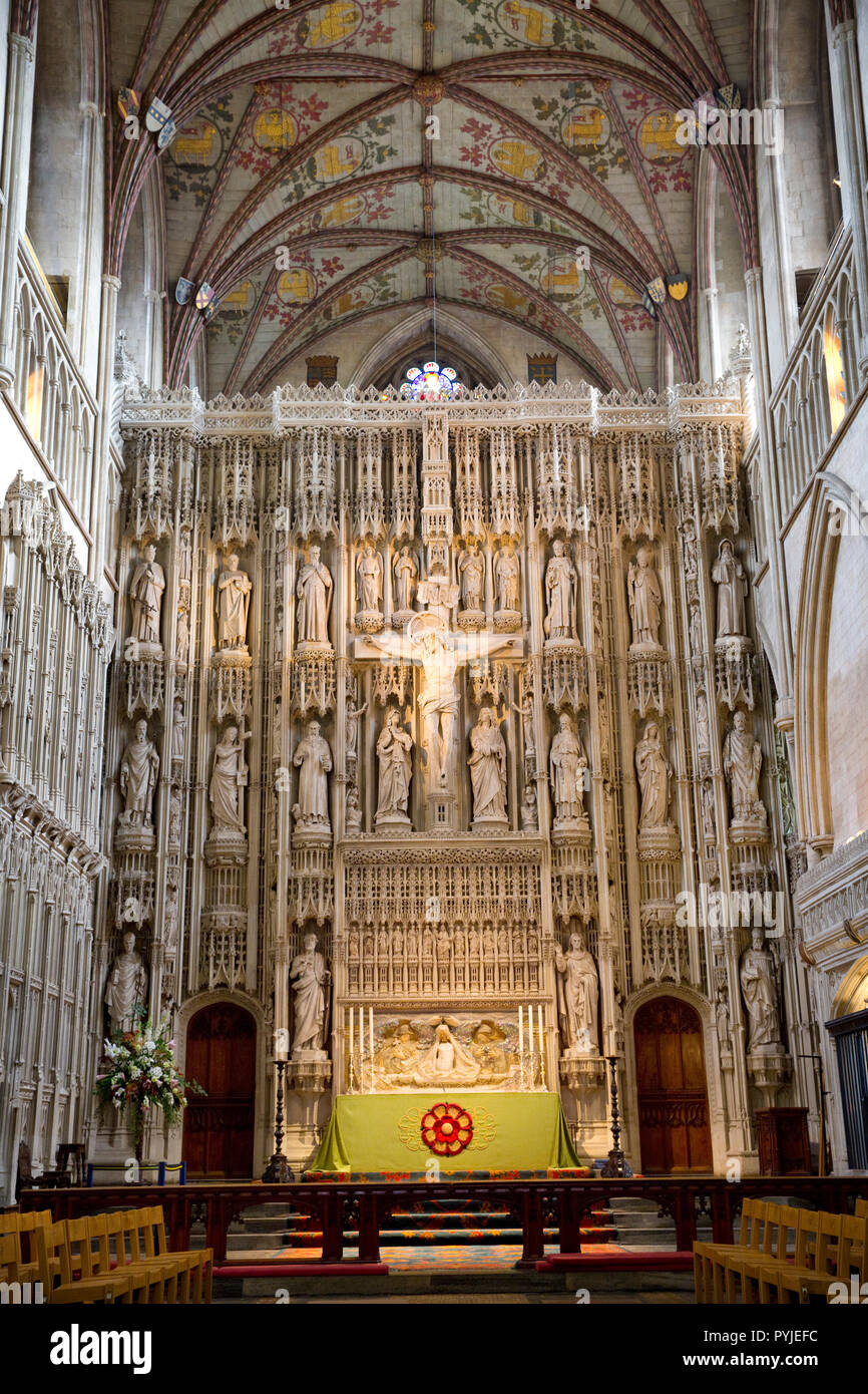 Chancel, altar and Wallingford Screen, Cathedral and Abbey Church of Saint Alban. St Albans, Hertfordshire, England - Stock Image