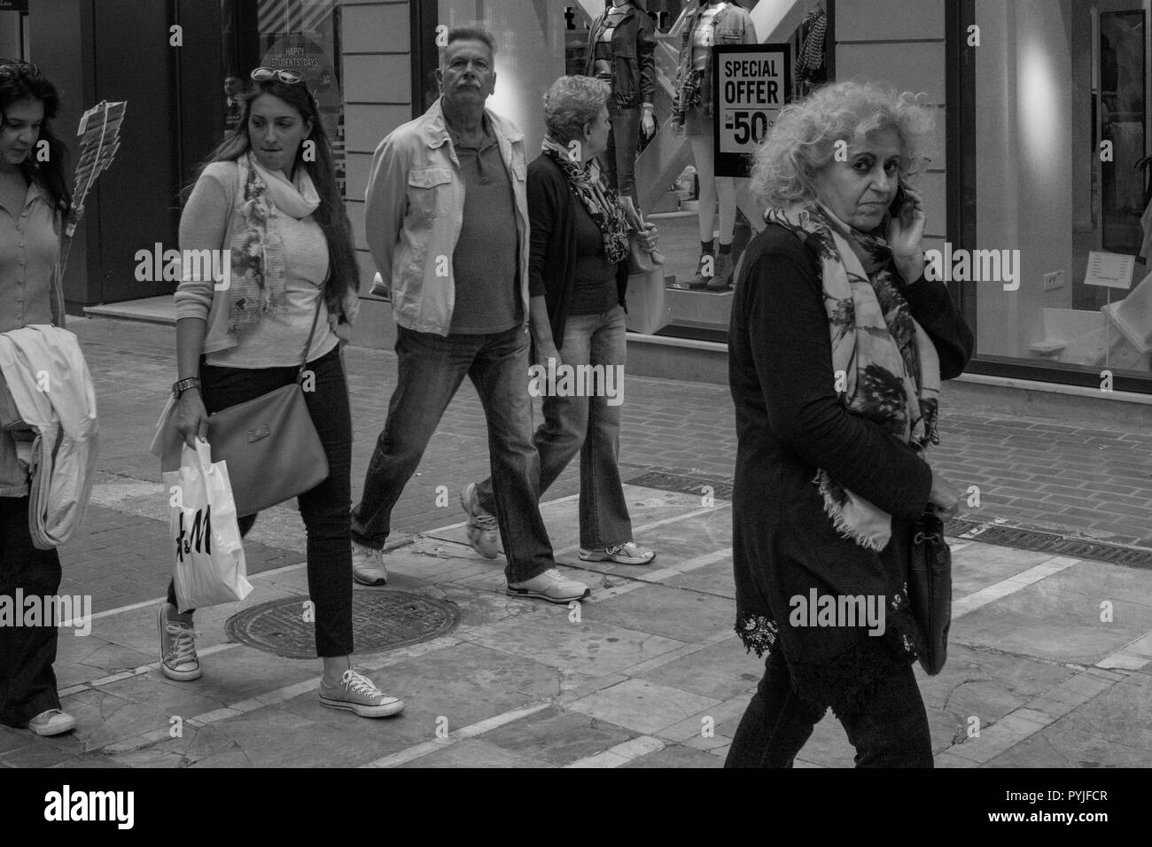 Saturday morning, people walking in Athens Greece. - Stock Image