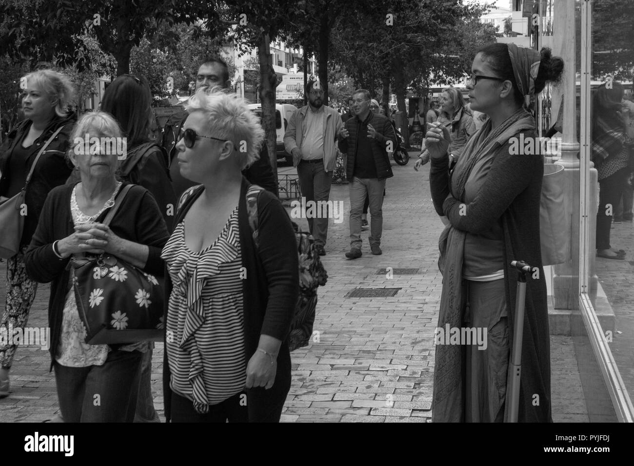 Saturday morning people walking in the city's center, Athens Greece. - Stock Image