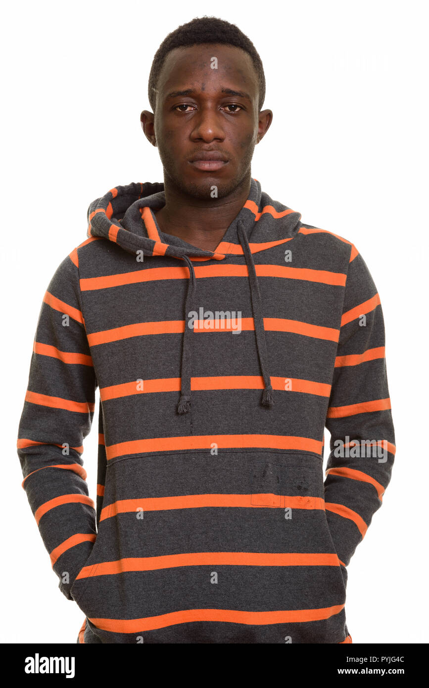 08126035 Portrait of young African man wearing hoodie · Ranta Images / Alamy Stock  Photo