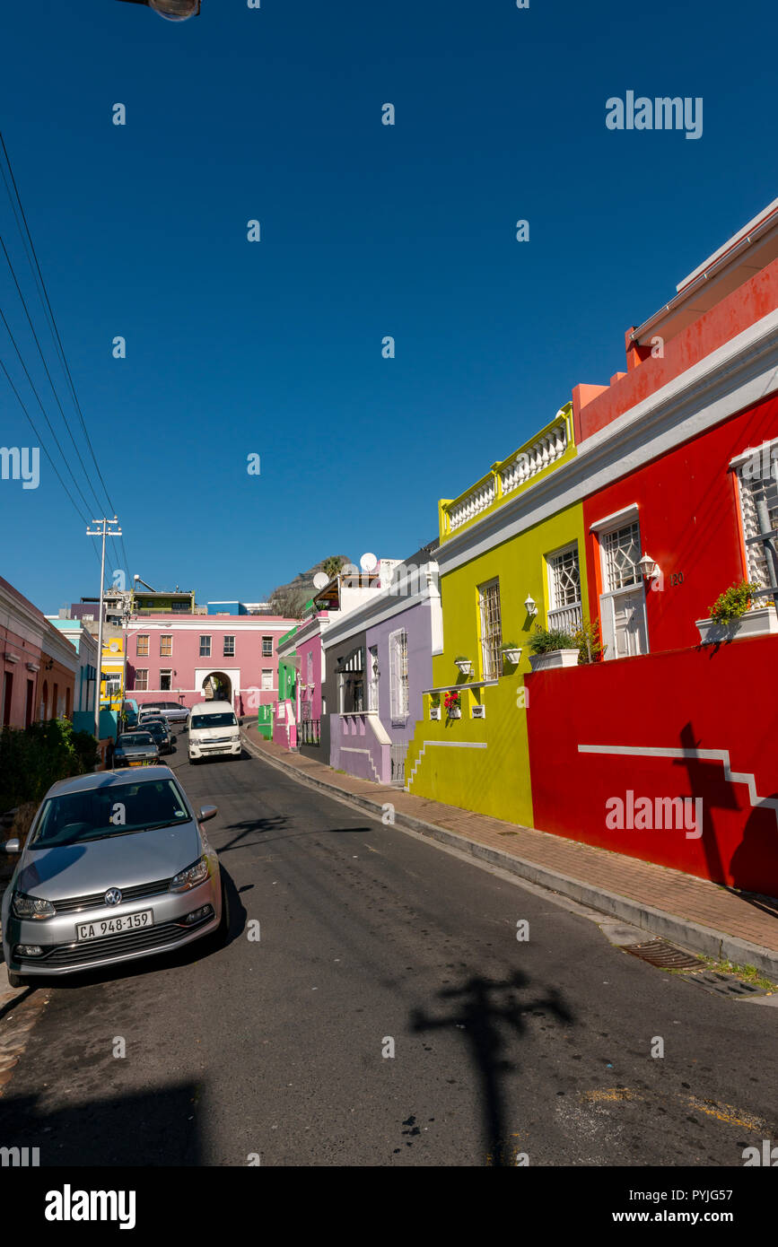 Coloured Houses, Cape Town, South Africa - Stock Image