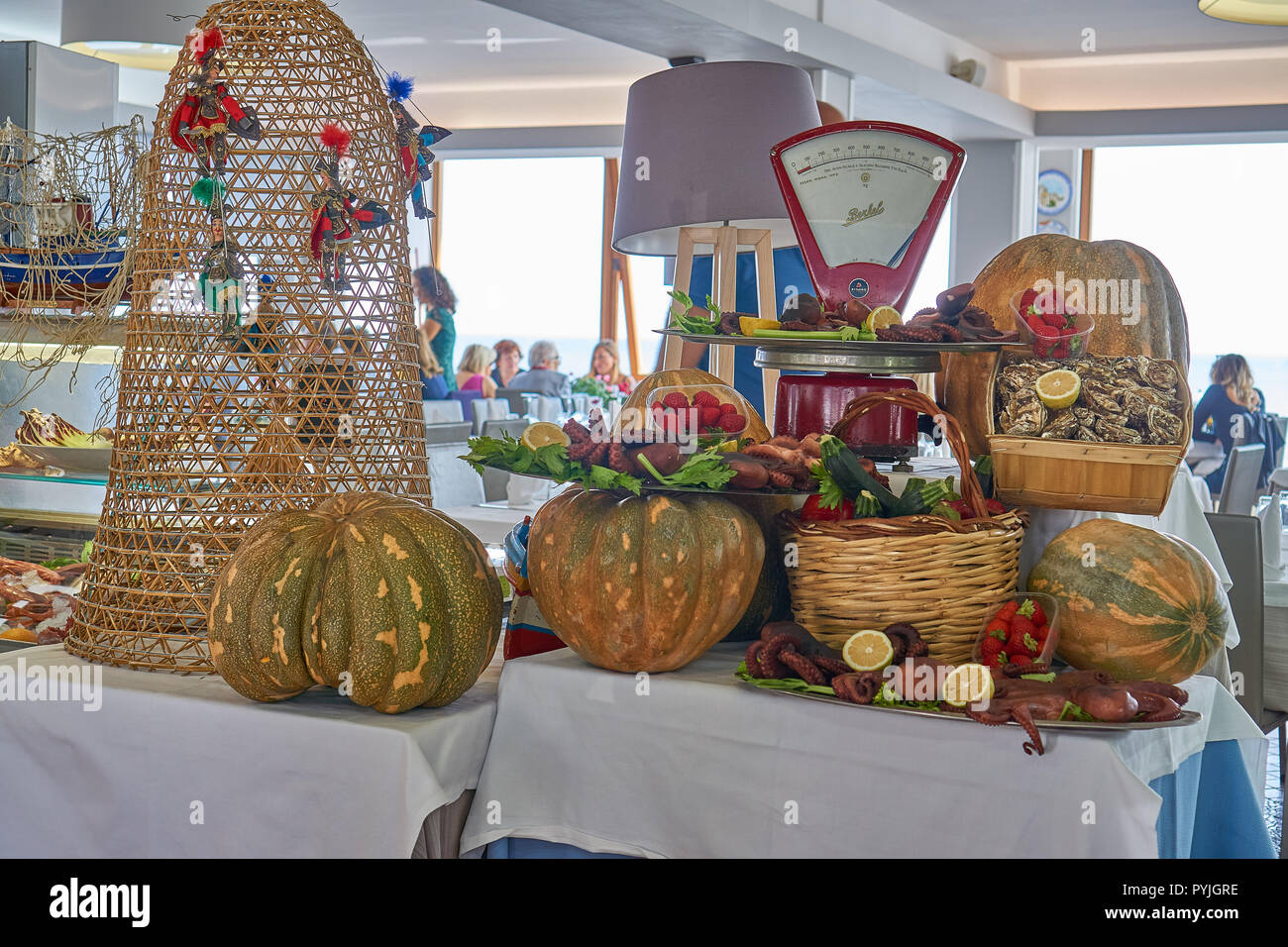 Local food on display in a restaurant in Palermo - Stock Image