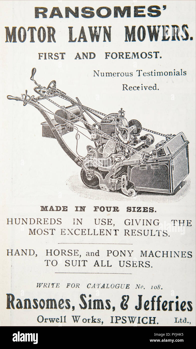 An old advert for Ransome's, Sims and Jefferies Motor Lawn Mowers. From a British magazine from the 1914-1918 period. England UK GB - Stock Image