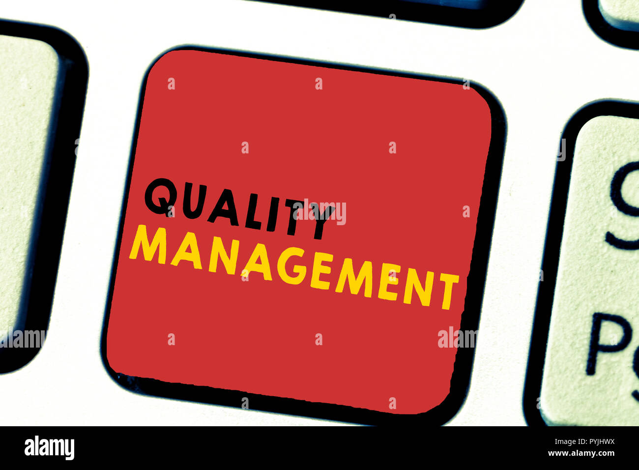 Word writing text Quality Management. Business concept for Maintain Excellence Level High Standard Product Services. - Stock Image