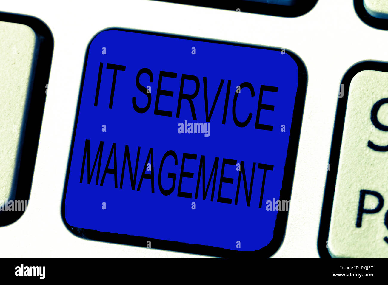 Text sign showing It Service Management. Conceptual photo Activity Directed by Policies Lifecycle of Technology. - Stock Image