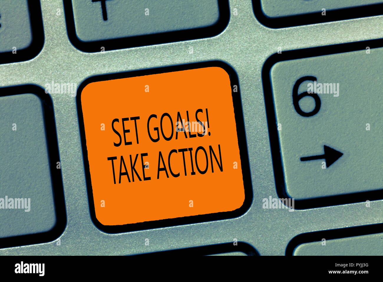 Writing note showing Set Goals Take Action. Business photo showcasing Act on a specific and clearly laid out plans. - Stock Image