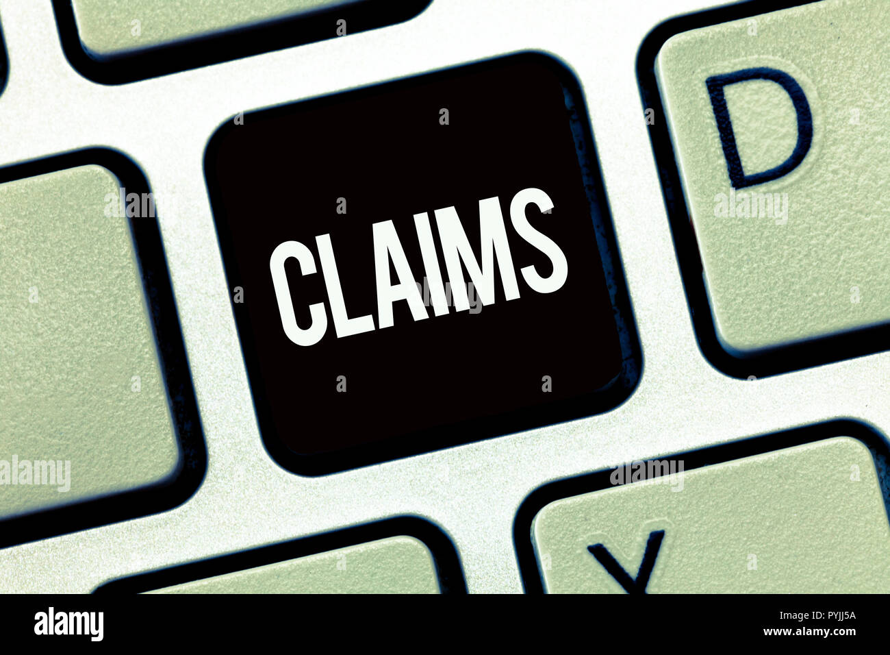 Word writing text Claims. Business concept for state or assert that something is case without providing evidence. - Stock Image