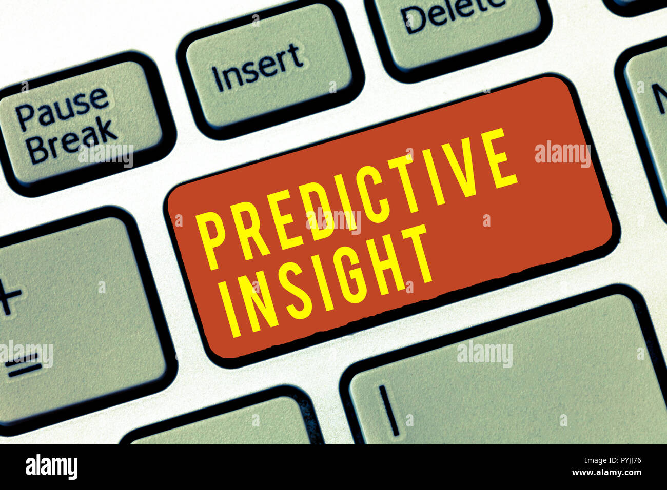 Handwriting text Predictive Insight. Concept meaning Proactive Fault Management System an Early Detection. - Stock Image
