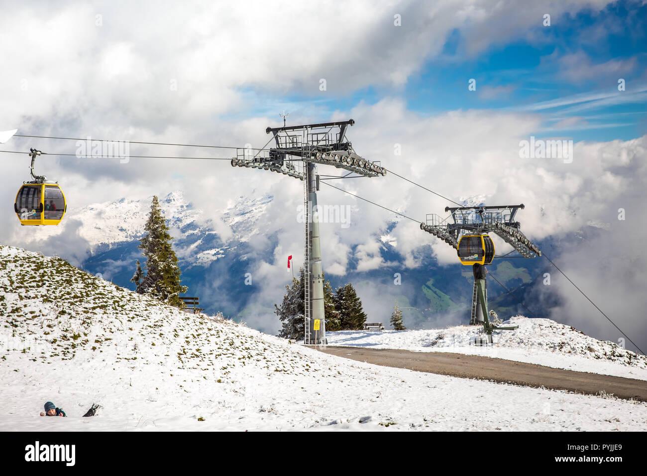 Mayrhofen, Austria - October, 2018: Cable car lift cabin Mayrhofner Bergbahnen on famous ski resort in Mayrhofen, Austria - Stock Image
