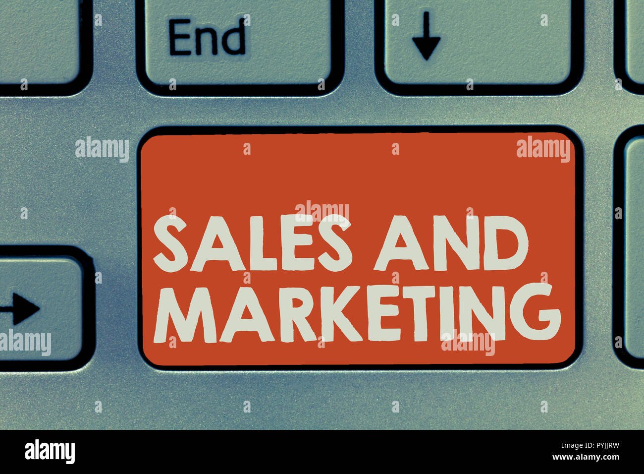 Text sign showing Sales And Marketing. Conceptual photo Promotion Selling Distribution of Goods or Services. - Stock Image