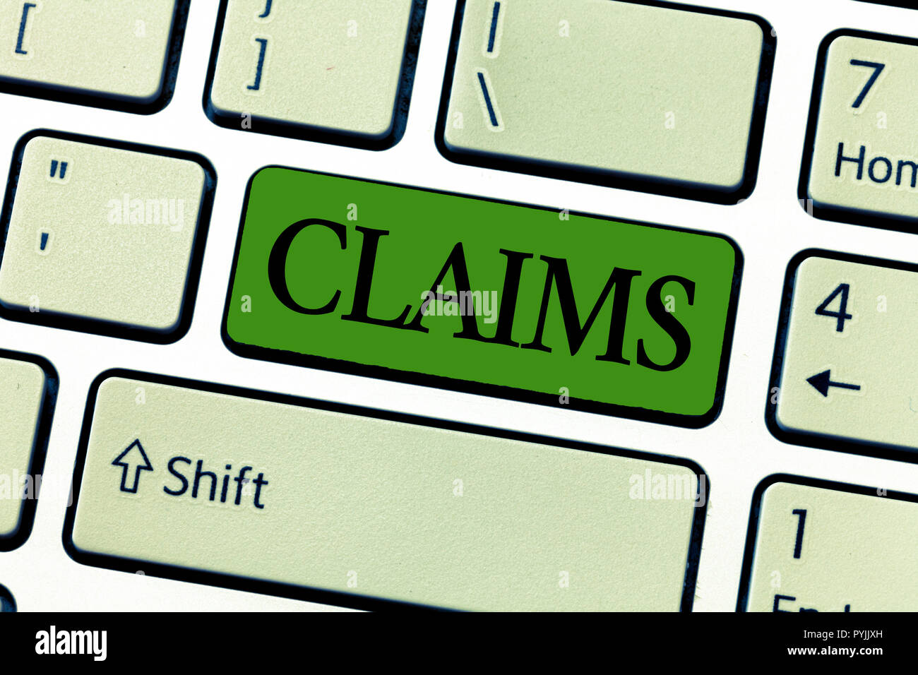 Writing note showing Claims. Business photo showcasing state or assert that something is case without providing evidence. - Stock Image