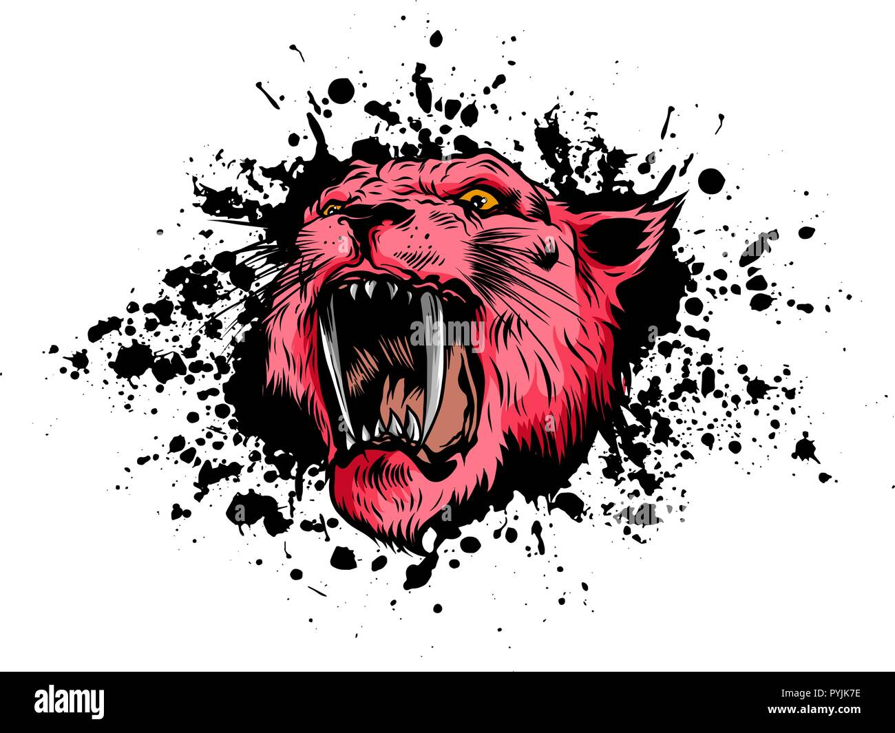 vector illustration Tiger Eyes Mascot Graphic in white background - Stock Vector