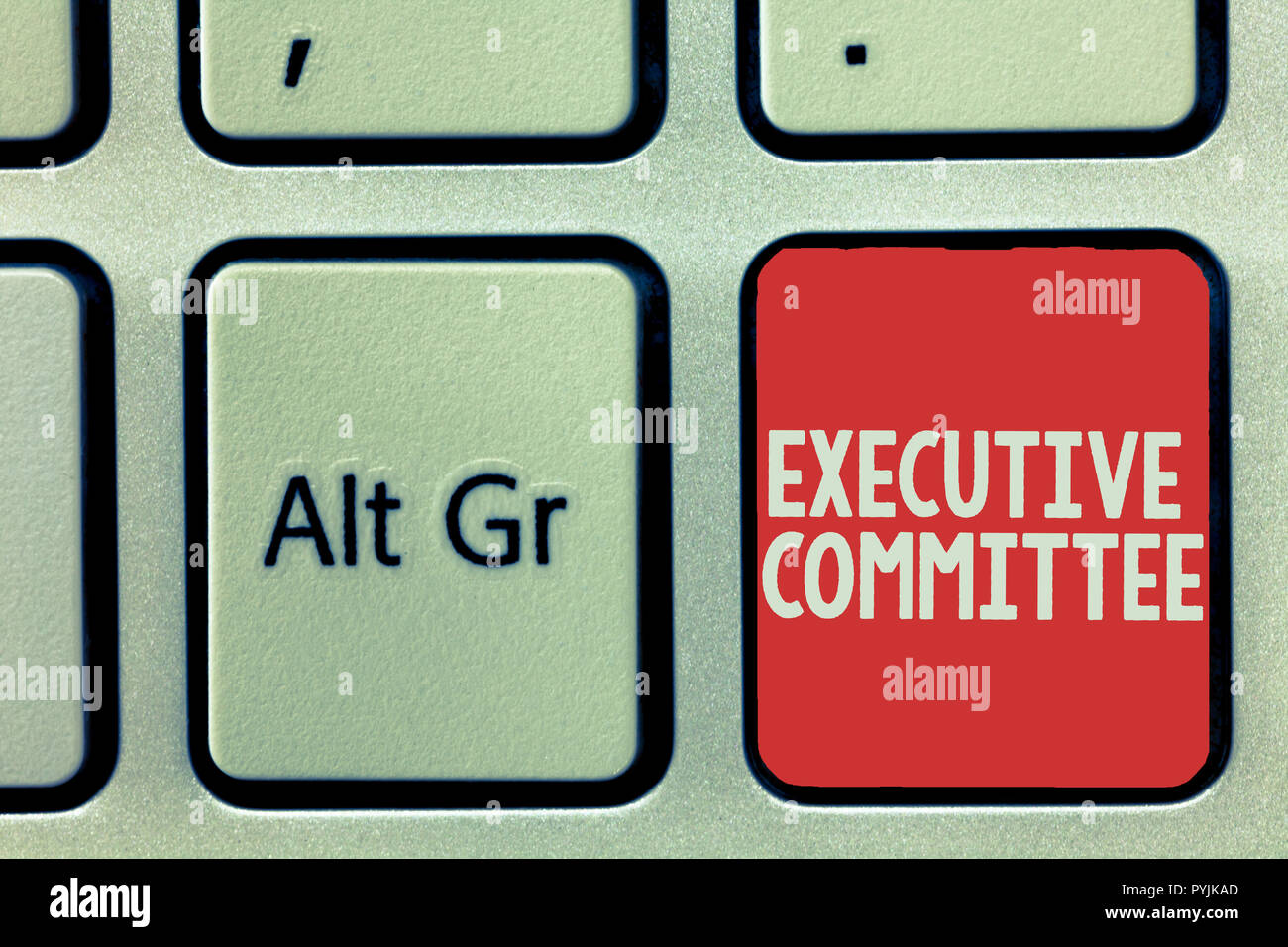 Text sign showing Executive Committee. Conceptual photo Group of Directors appointed Has Authority in Decisions. - Stock Image