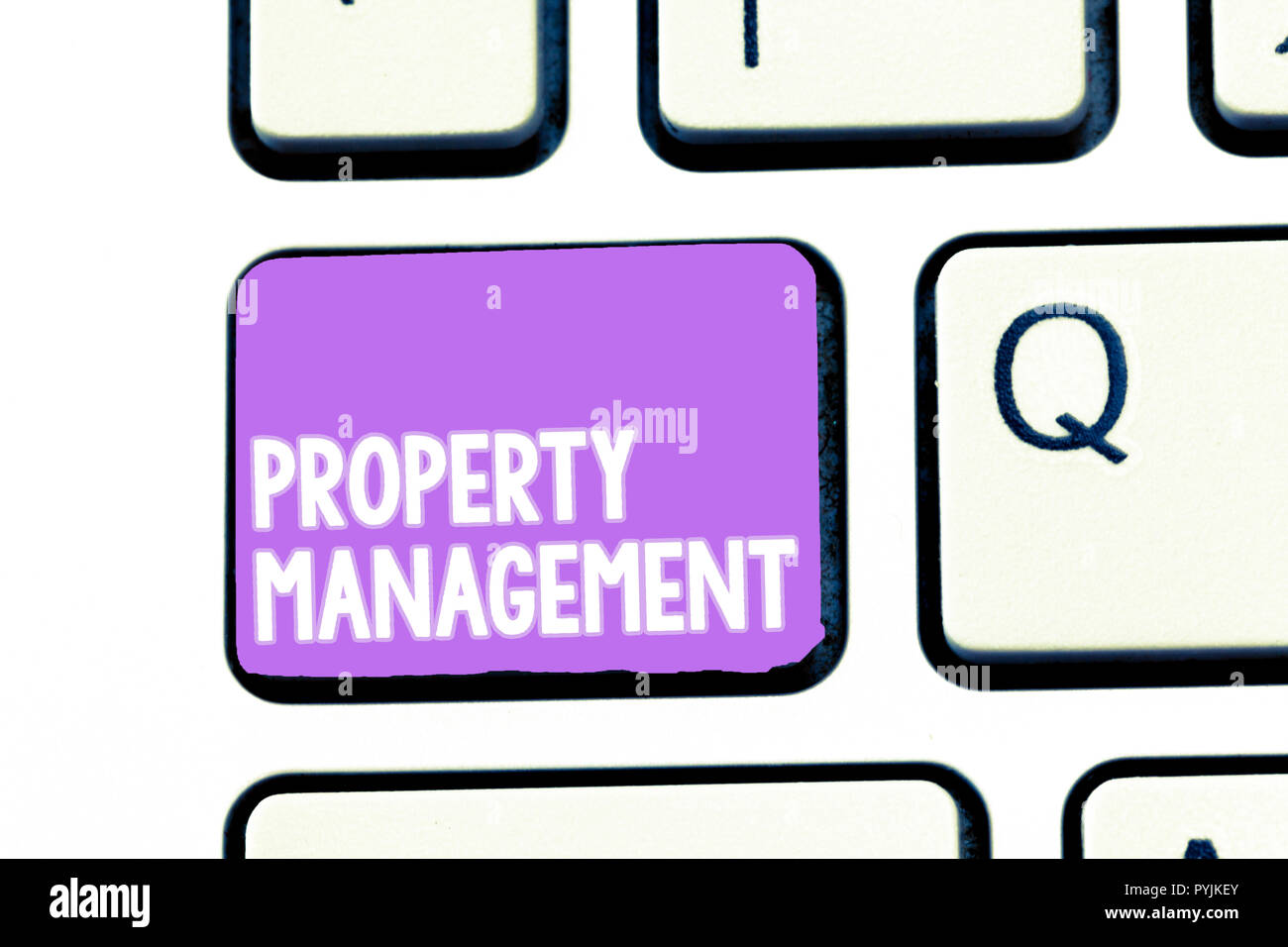 Writing note showing Property Management. Business photo showcasing Overseeing of Real Estate Preserved value of Facility. - Stock Image
