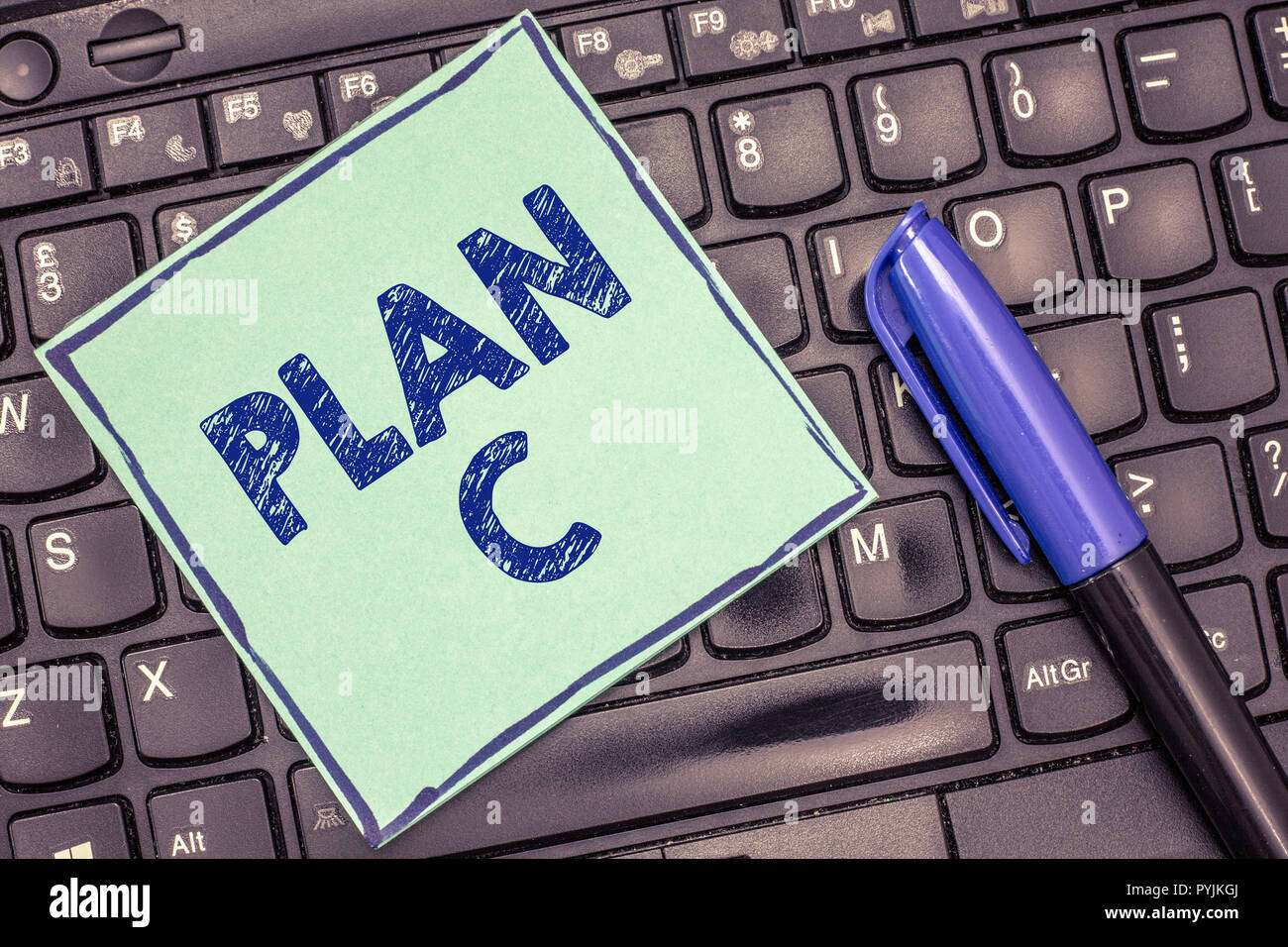 Writing note showing Plan C. Business photo showcasing ones last Backup strategy detailed proposal for doing something. - Stock Image
