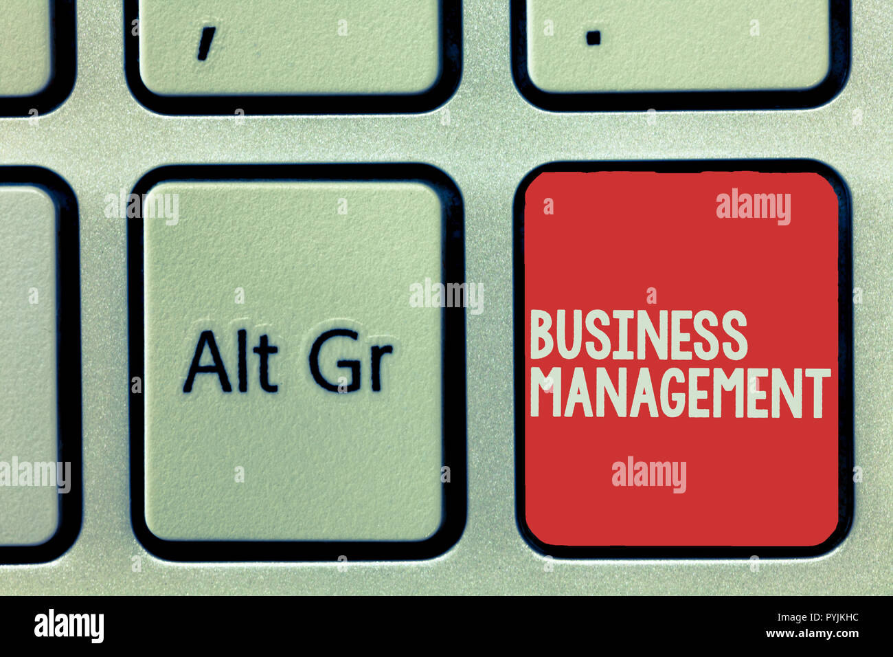 Text sign showing Business Management. Conceptual photo Overseeing Supervising Coordinating Business Operations. - Stock Image