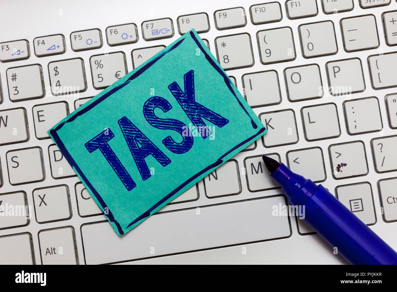 Handwriting text Task. Concept meaning A piece of work to be done and undertaken Activity need to perform. - Stock Image